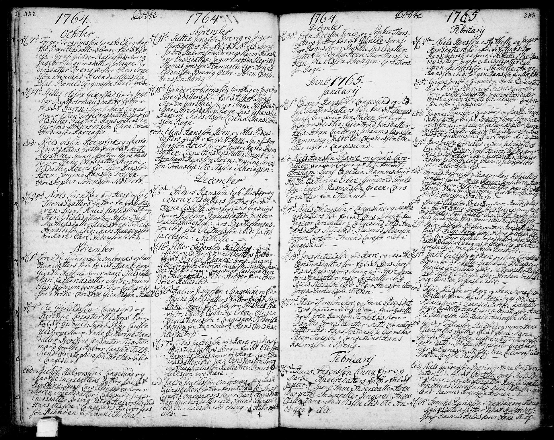 SAKO, Bamble kirkebøker, F/Fa/L0001: Ministerialbok nr. I 1, 1702-1774, s. 332-333