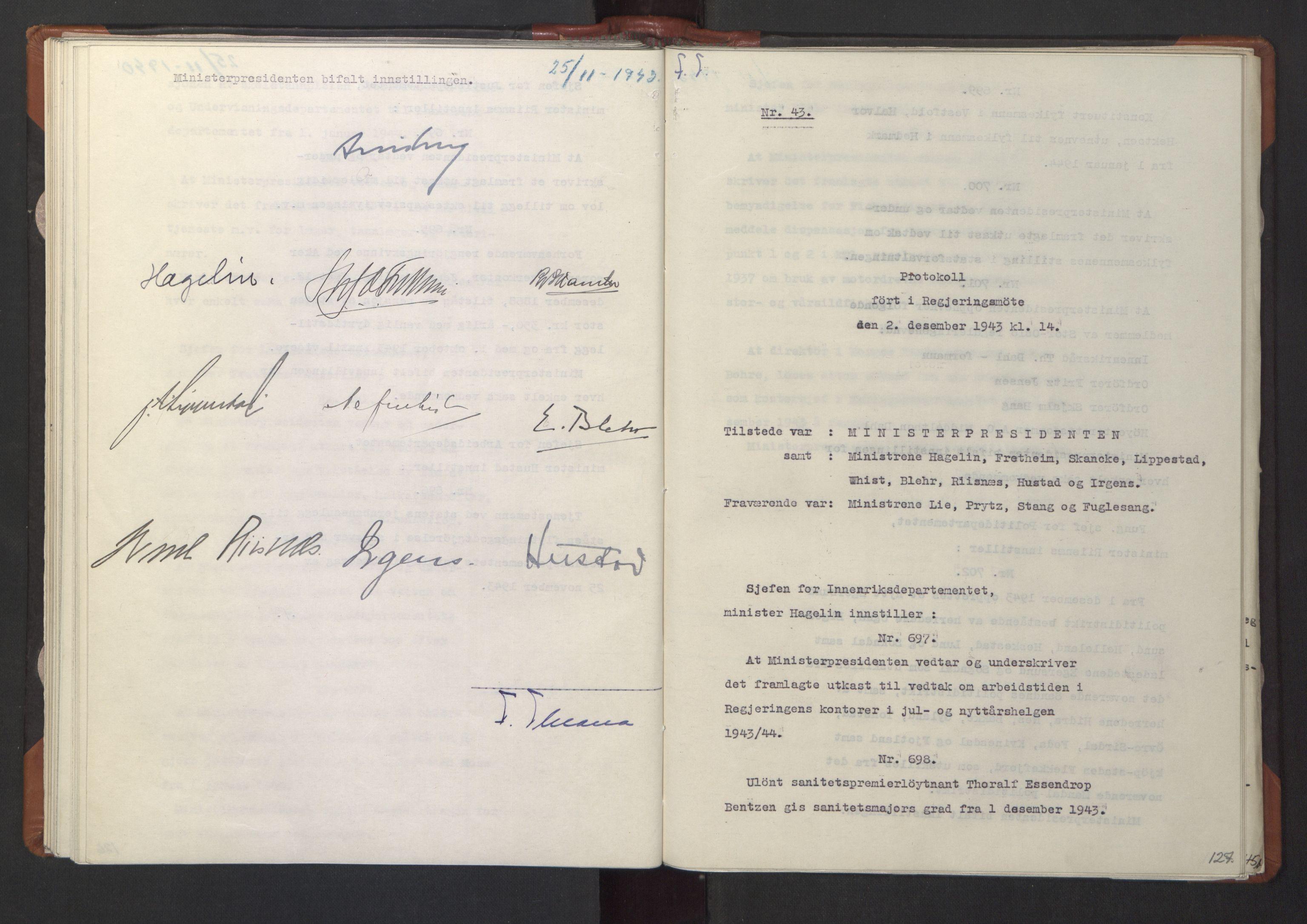 RA, NS-administrasjonen 1940-1945 (Statsrådsekretariatet, de kommisariske statsråder mm), D/Da/L0003: Vedtak (Beslutninger) nr. 1-746 og tillegg nr. 1-47 (RA. j.nr. 1394/1944, tilgangsnr. 8/1944, 1943, s. 126b-127a
