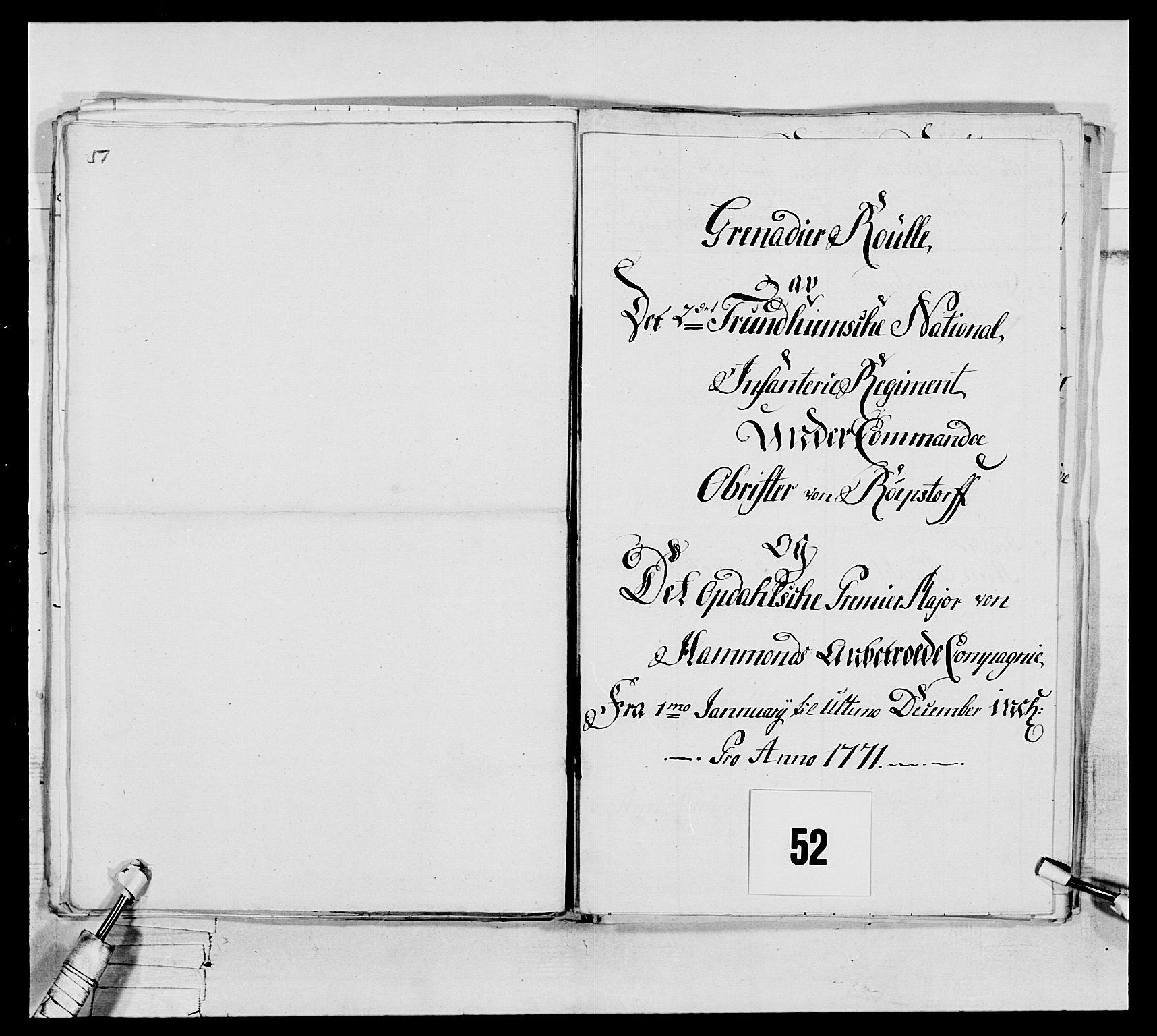 RA, Generalitets- og kommissariatskollegiet, Det kongelige norske kommissariatskollegium, E/Eh/L0076: 2. Trondheimske nasjonale infanteriregiment, 1766-1773, s. 174