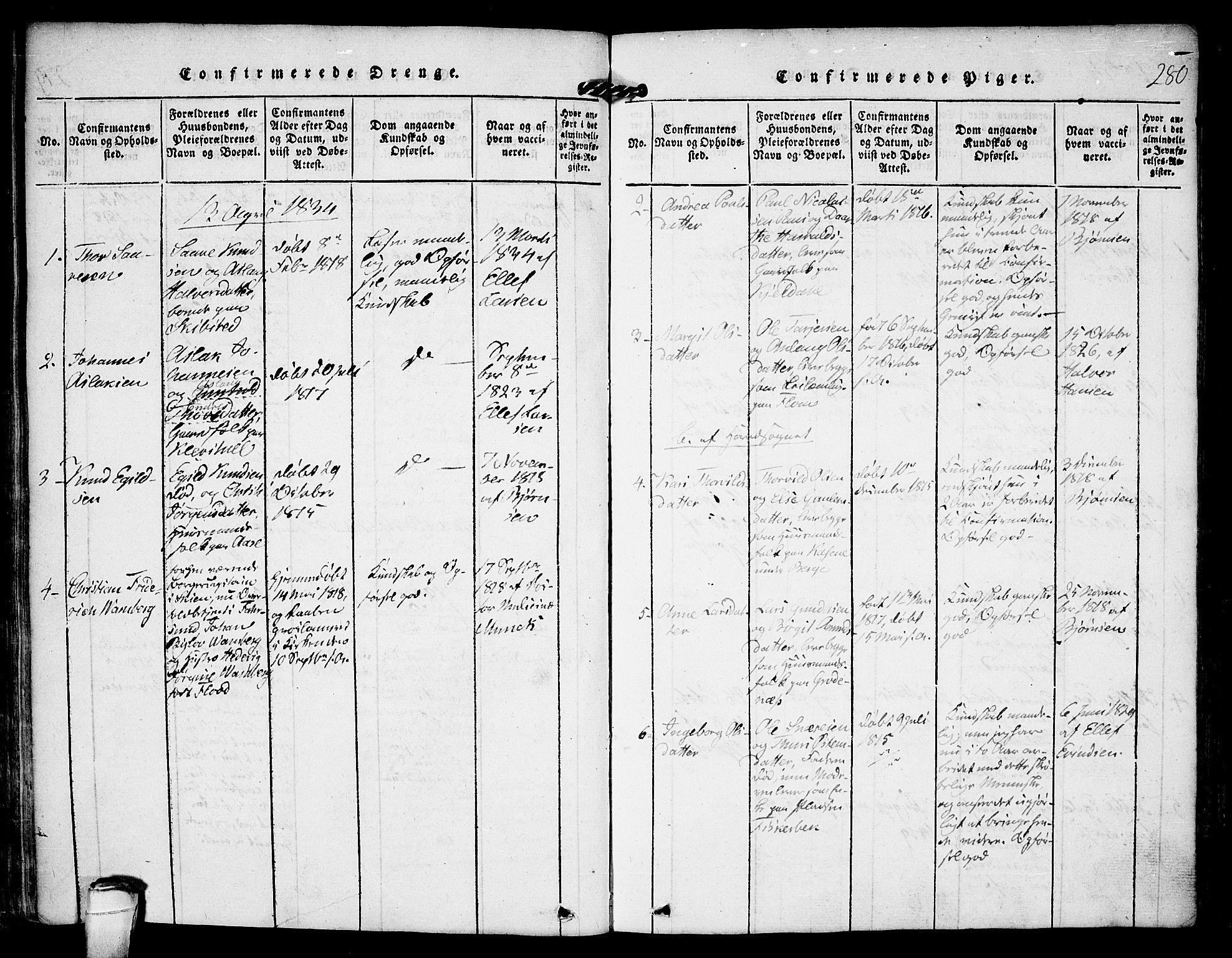 SAKO, Kviteseid kirkebøker, F/Fa/L0005: Ministerialbok nr. I 5, 1815-1836, s. 280
