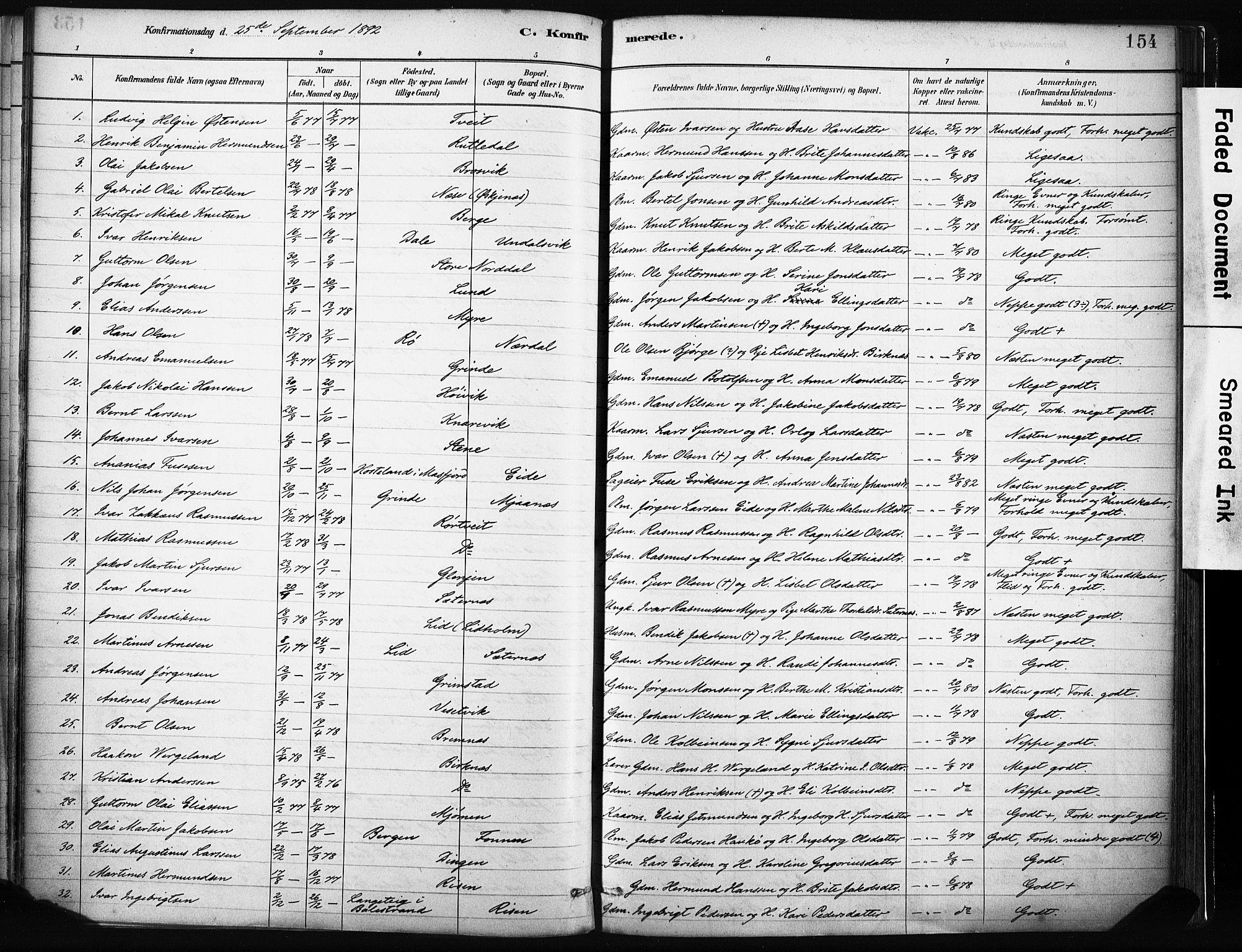 SAB, Gulen Sokneprestembete, Ministerialbok nr. B 1, 1881-1905, s. 154