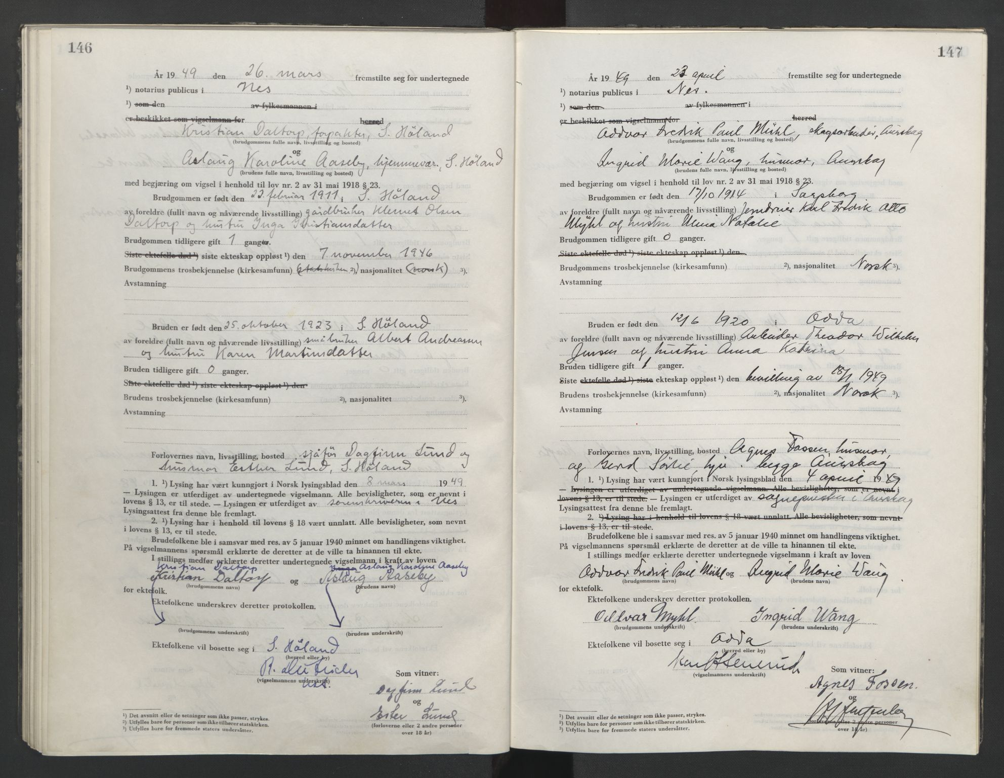 SAO, Nes tingrett, L/Lc/Lca/L0003: Vigselbok, 1944-1953, s. 146-147