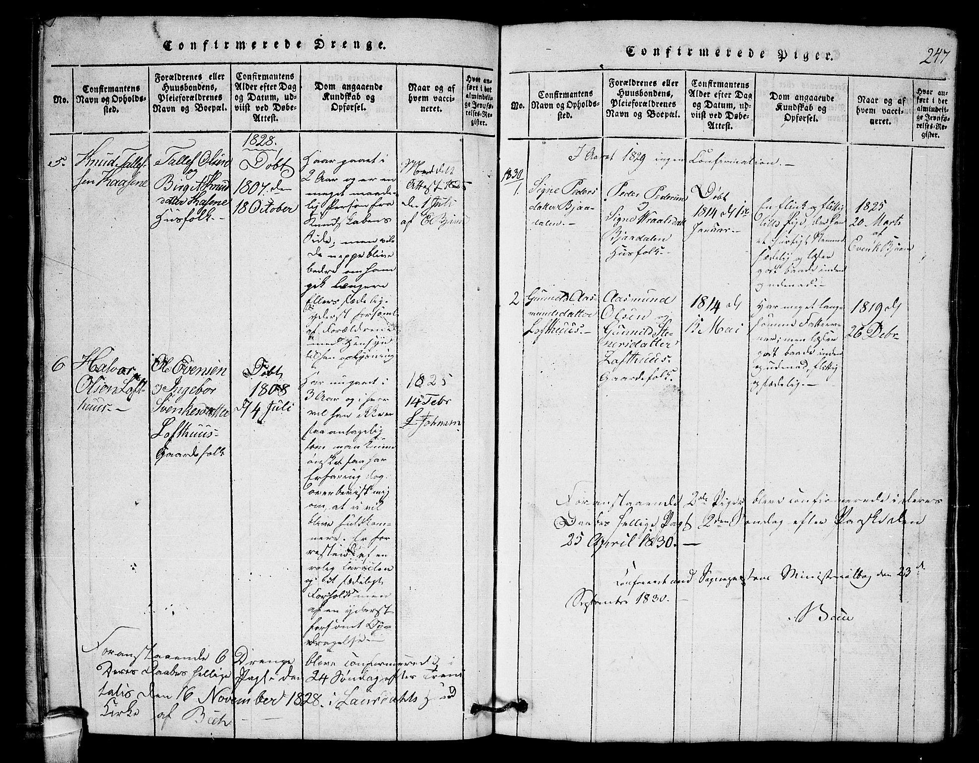 SAKO, Lårdal kirkebøker, G/Gb/L0001: Klokkerbok nr. II 1, 1815-1865, s. 247