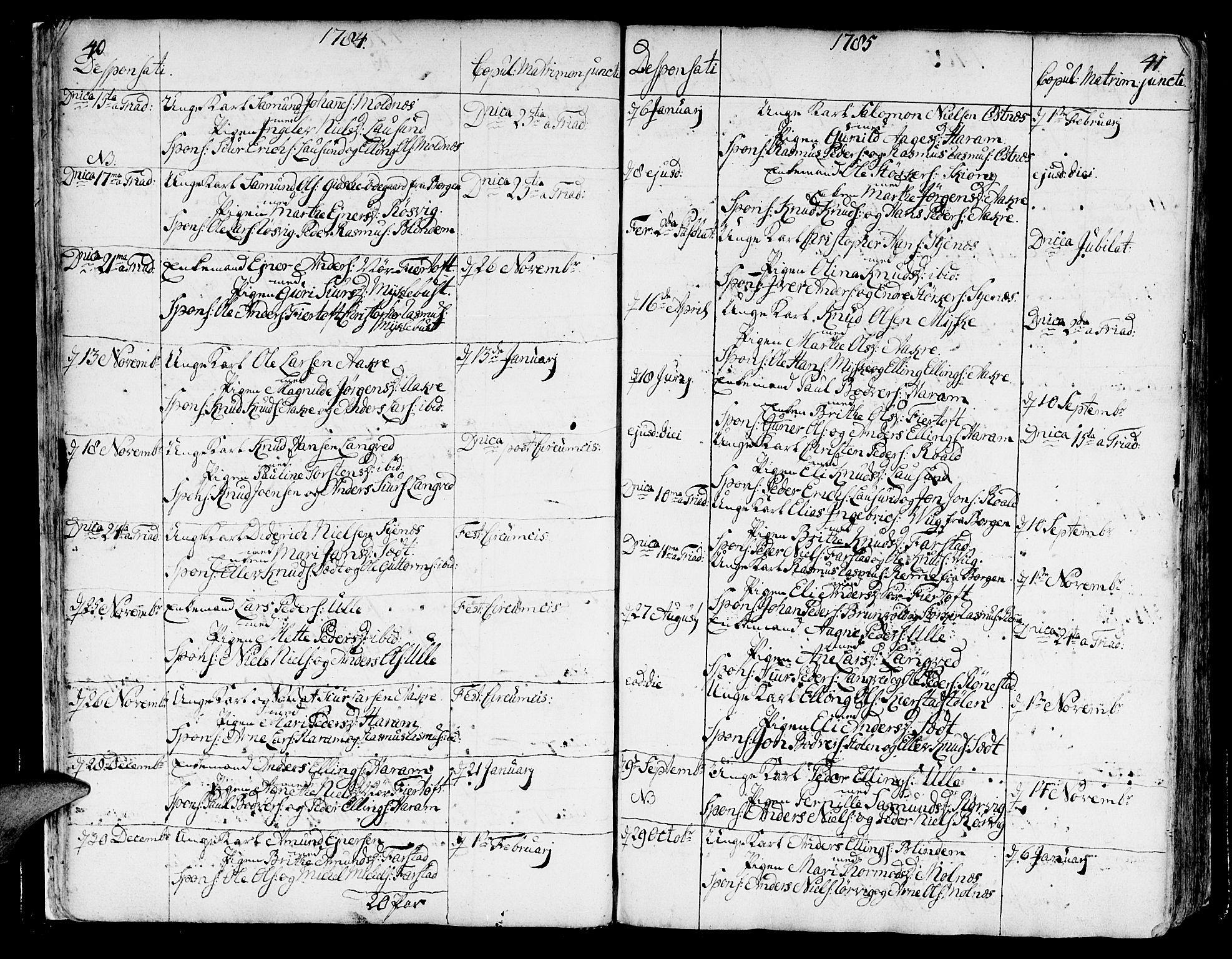 SAT, Ministerialprotokoller, klokkerbøker og fødselsregistre - Møre og Romsdal, 536/L0493: Ministerialbok nr. 536A02, 1739-1802, s. 40-41