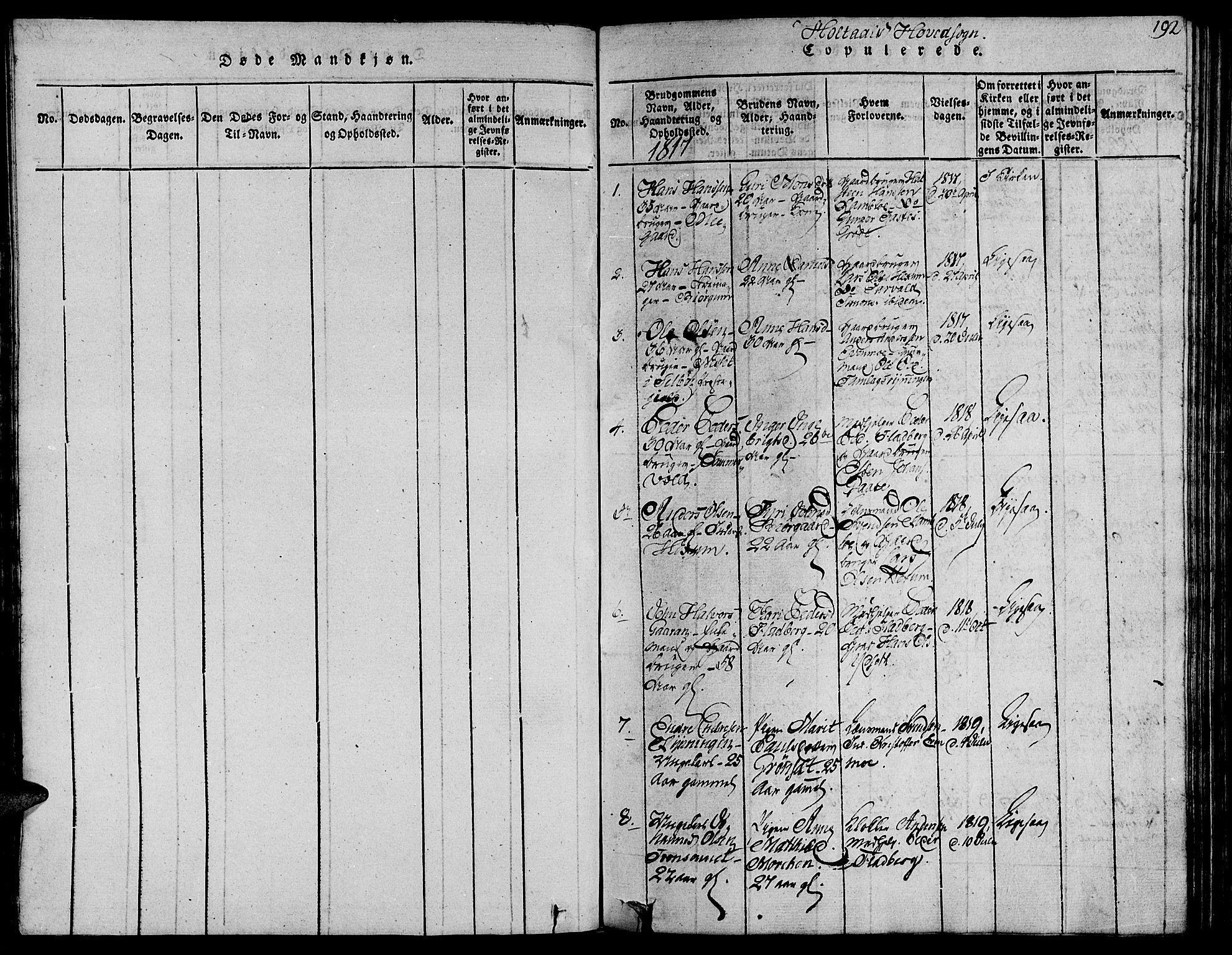SAT, Ministerialprotokoller, klokkerbøker og fødselsregistre - Sør-Trøndelag, 685/L0954: Ministerialbok nr. 685A03 /1, 1817-1829, s. 192