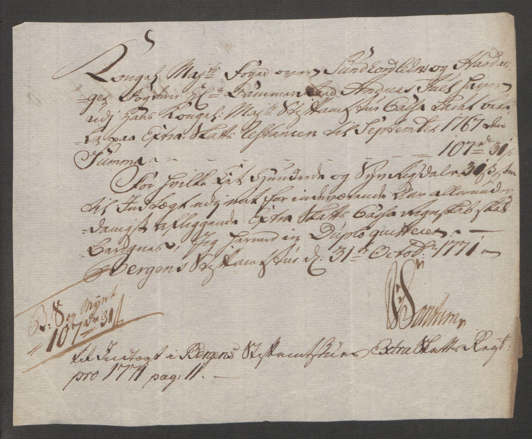 RA, Rentekammeret inntil 1814, Reviderte regnskaper, Fogderegnskap, R48/L3136: Ekstraskatten Sunnhordland og Hardanger, 1762-1772, s. 231