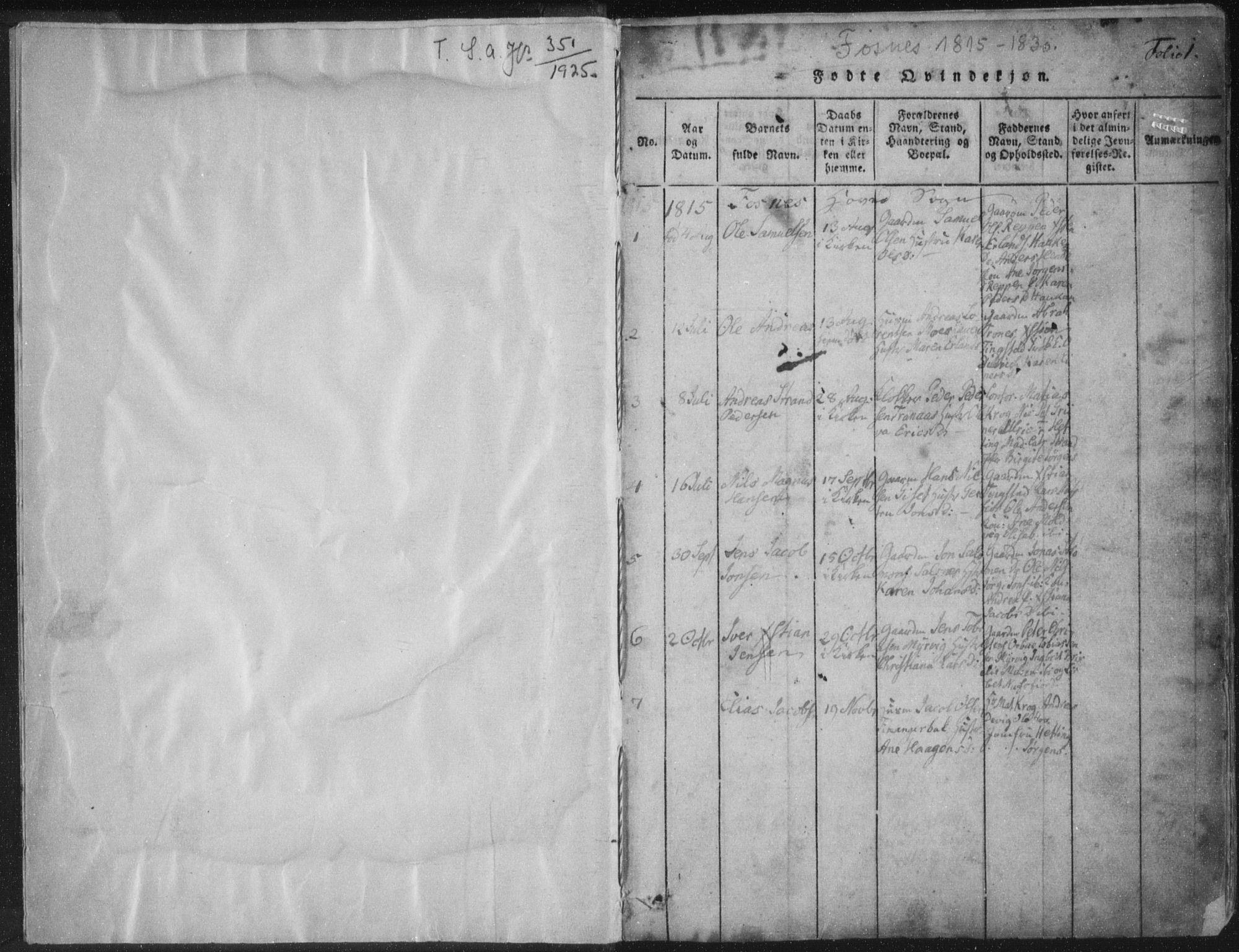 SAT, Ministerialprotokoller, klokkerbøker og fødselsregistre - Nord-Trøndelag, 773/L0609: Ministerialbok nr. 773A03 /1, 1815-1830, s. 1