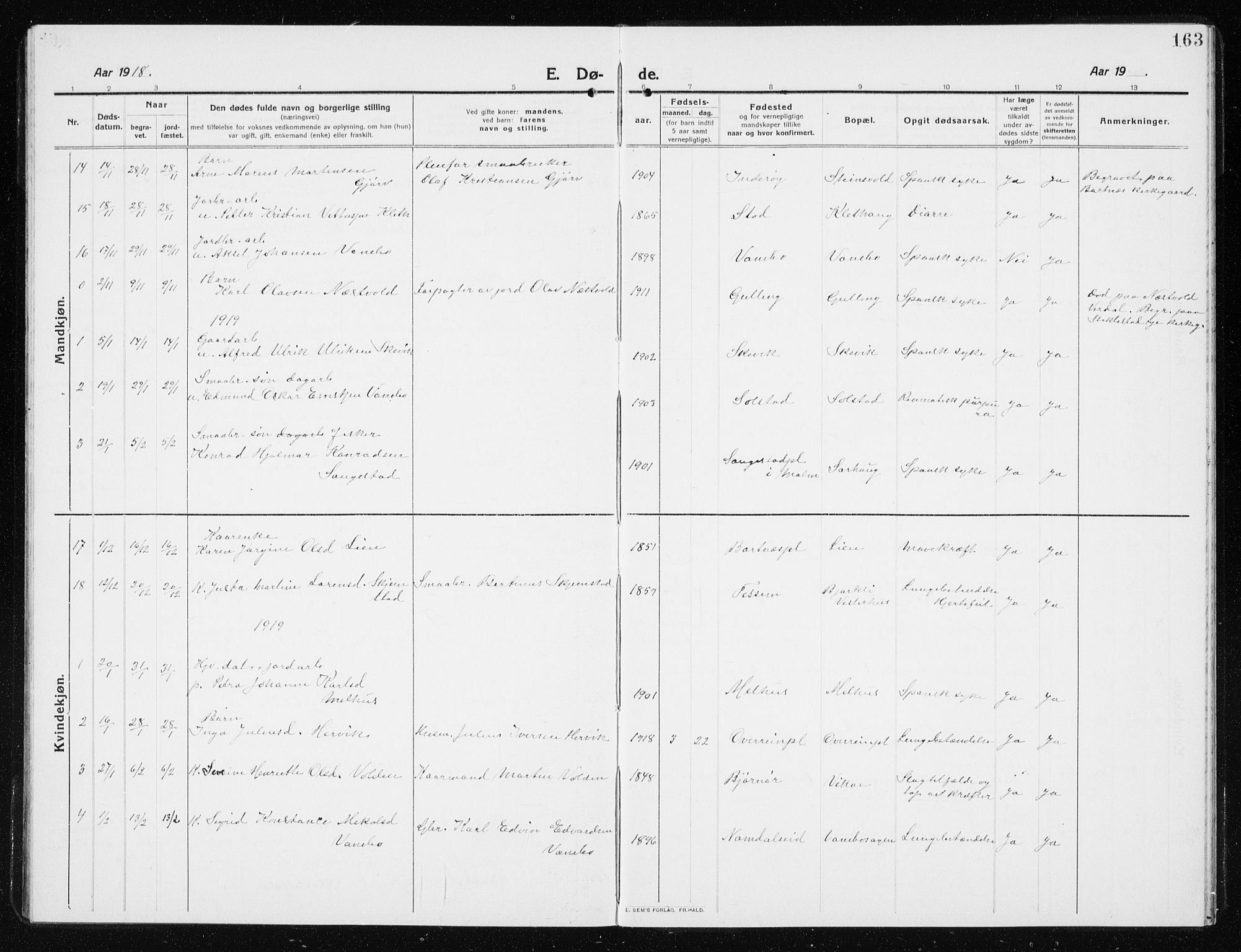 SAT, Ministerialprotokoller, klokkerbøker og fødselsregistre - Nord-Trøndelag, 741/L0402: Klokkerbok nr. 741C03, 1911-1926, s. 163
