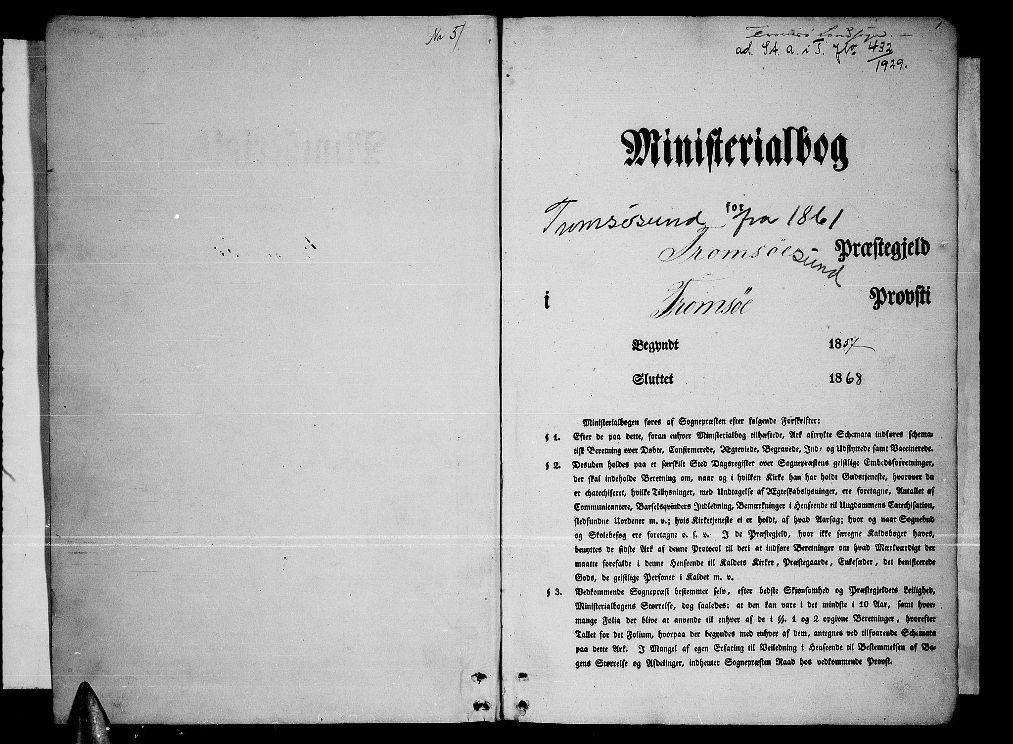 SATØ, Tromsøysund sokneprestkontor, G/Gb/L0001klokker: Klokkerbok nr. 1, 1857-1869, s. 1