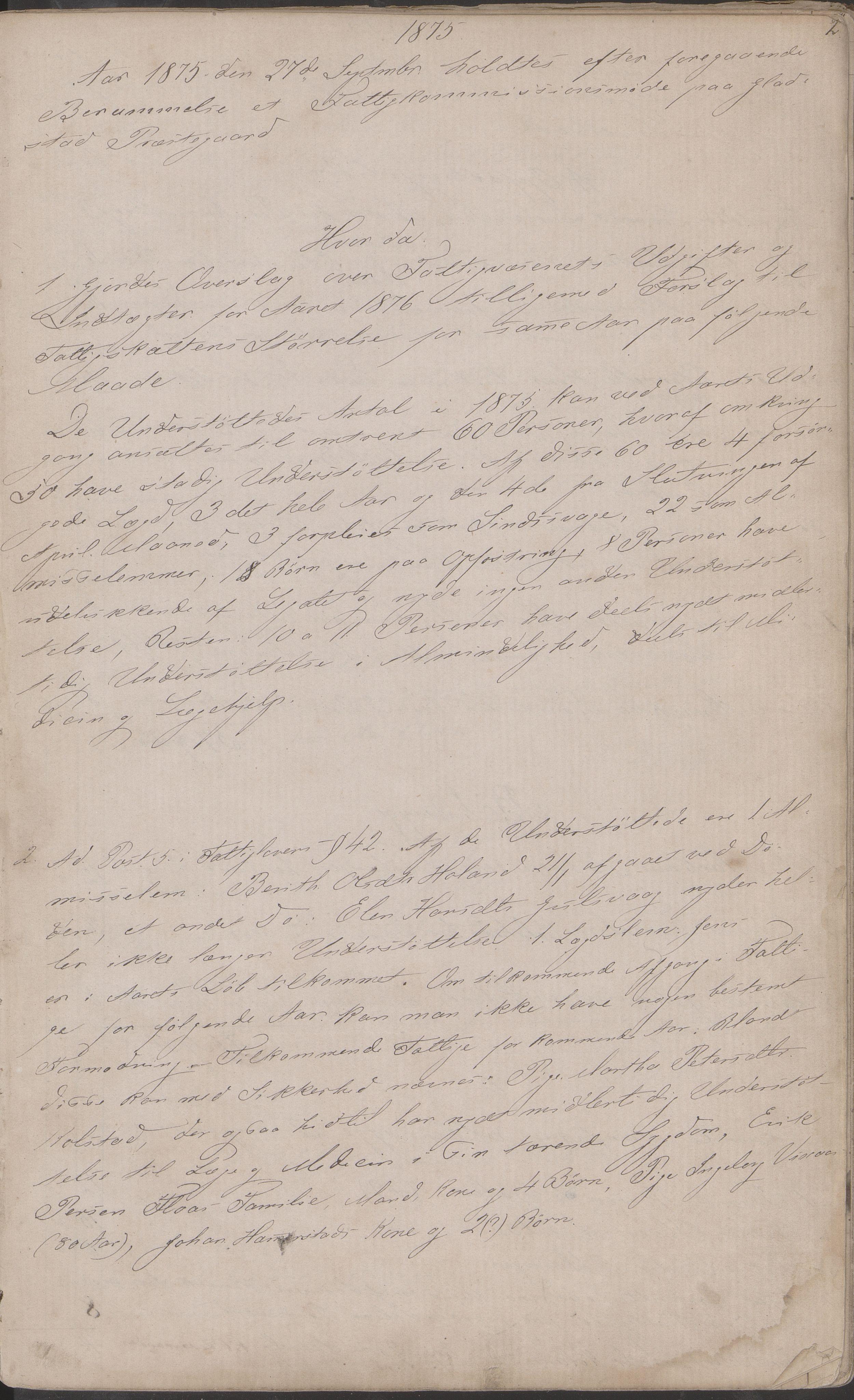 AIN, Vega kommune. Fattigstyret, A/L0002: Forhandlingsprotokoll, 1875-1889, s. 2