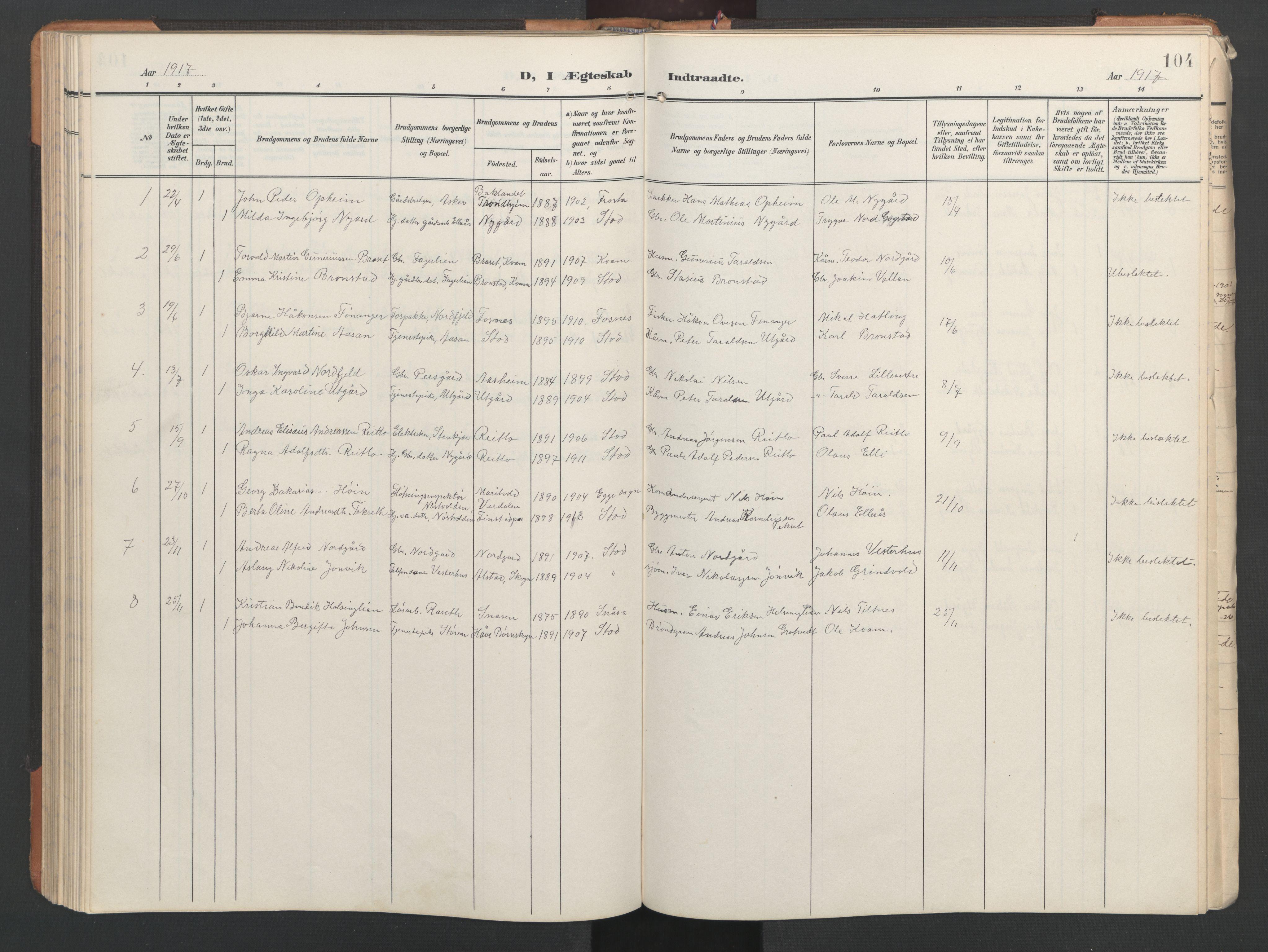 SAT, Ministerialprotokoller, klokkerbøker og fødselsregistre - Nord-Trøndelag, 746/L0455: Klokkerbok nr. 746C01, 1908-1933, s. 104
