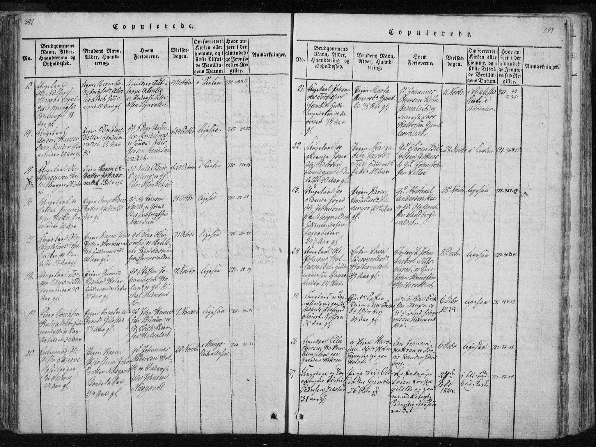 SAT, Ministerialprotokoller, klokkerbøker og fødselsregistre - Nord-Trøndelag, 717/L0148: Ministerialbok nr. 717A04 /1, 1816-1825, s. 397-398