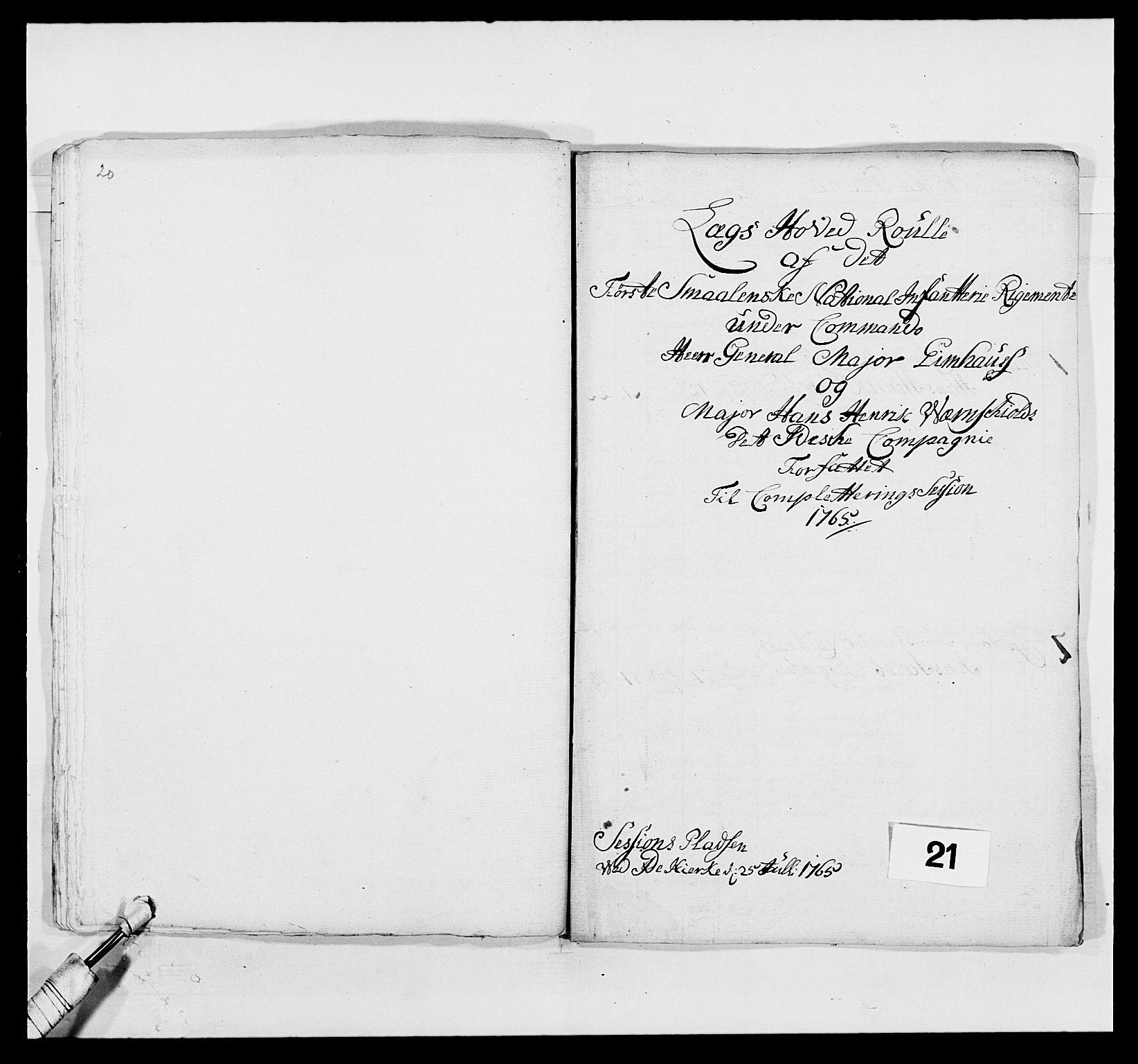 RA, Kommanderende general (KG I) med Det norske krigsdirektorium, E/Ea/L0496: 1. Smålenske regiment, 1765-1767, s. 357