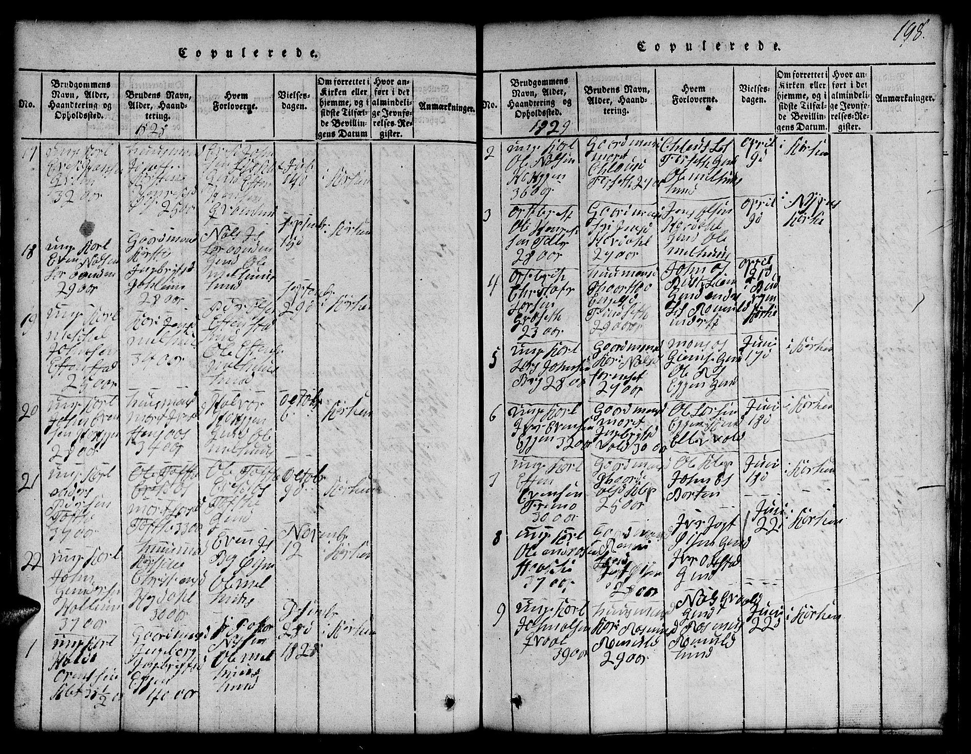 SAT, Ministerialprotokoller, klokkerbøker og fødselsregistre - Sør-Trøndelag, 691/L1092: Klokkerbok nr. 691C03, 1816-1852, s. 198