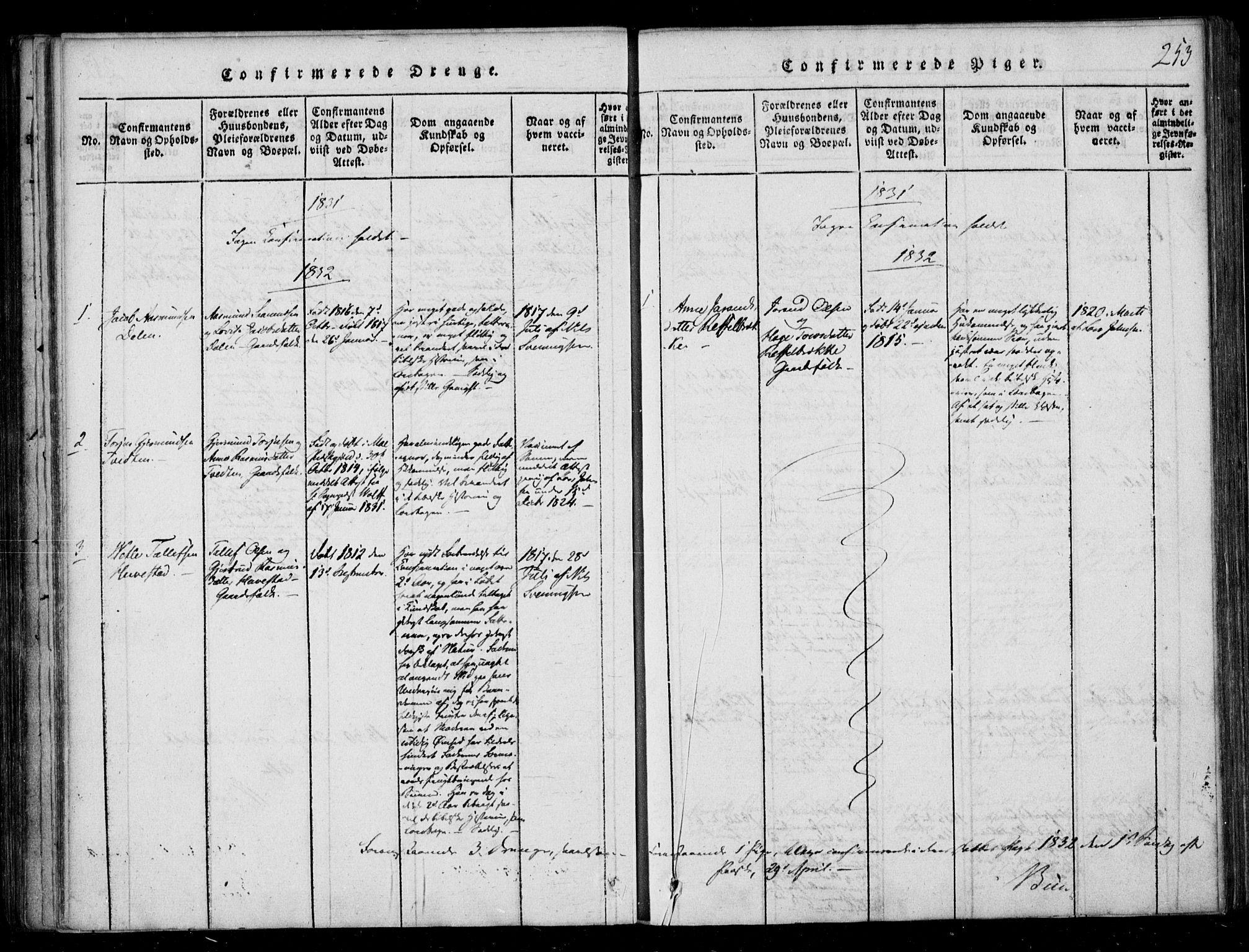 SAKO, Lårdal kirkebøker, F/Fb/L0001: Ministerialbok nr. II 1, 1815-1860, s. 253