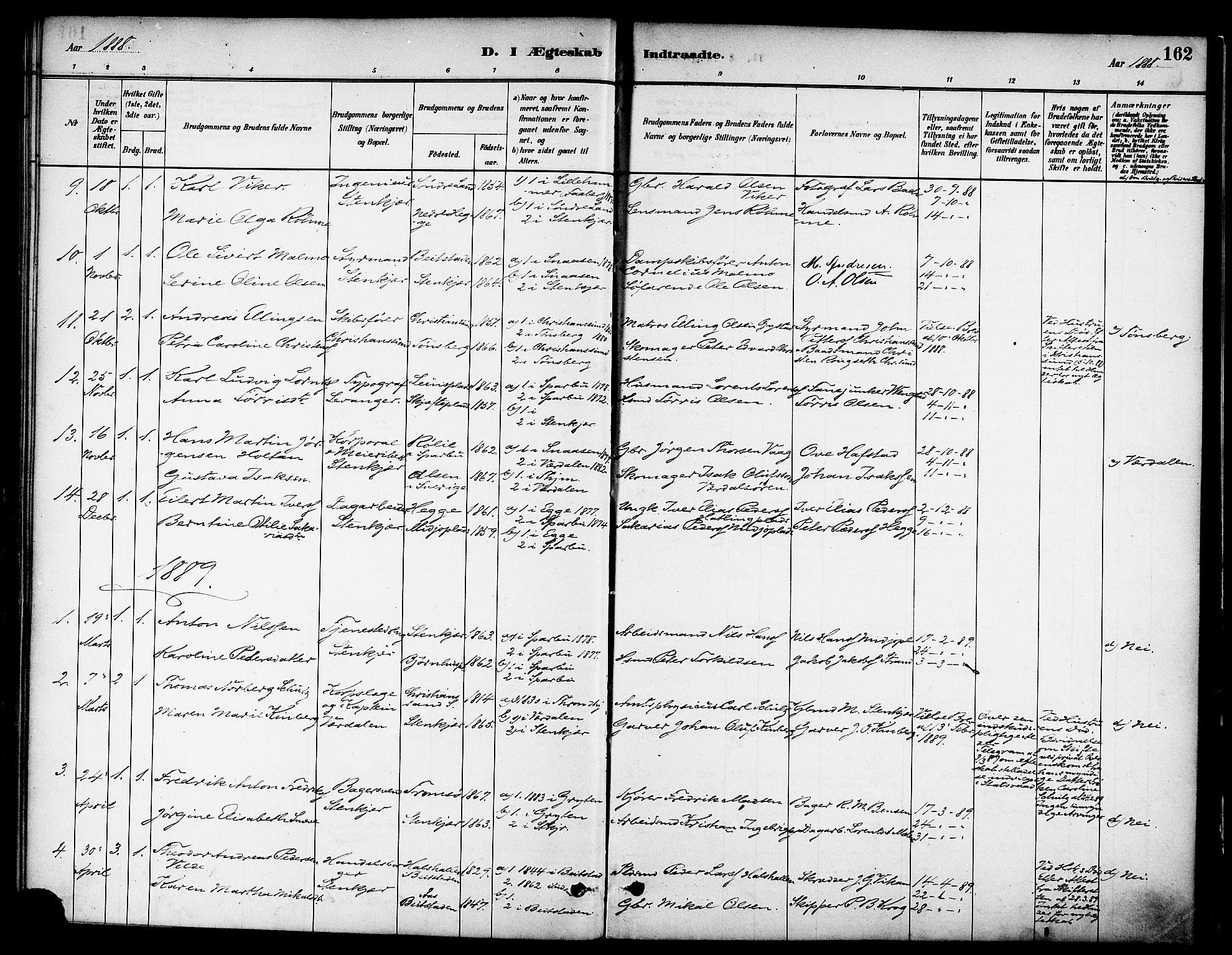 SAT, Ministerialprotokoller, klokkerbøker og fødselsregistre - Nord-Trøndelag, 739/L0371: Ministerialbok nr. 739A03, 1881-1895, s. 162