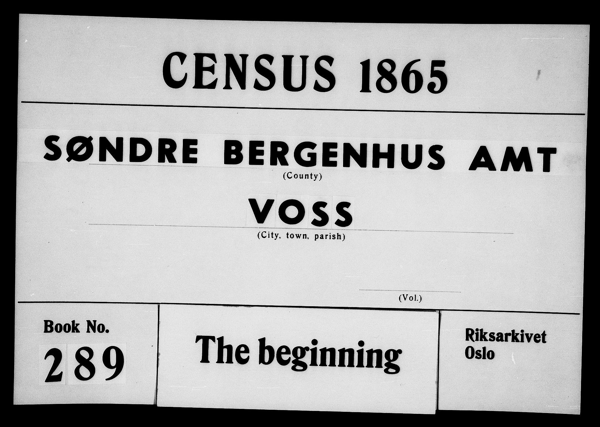 RA, Folketelling 1865 for 1235P Voss prestegjeld, 1865, s. 1