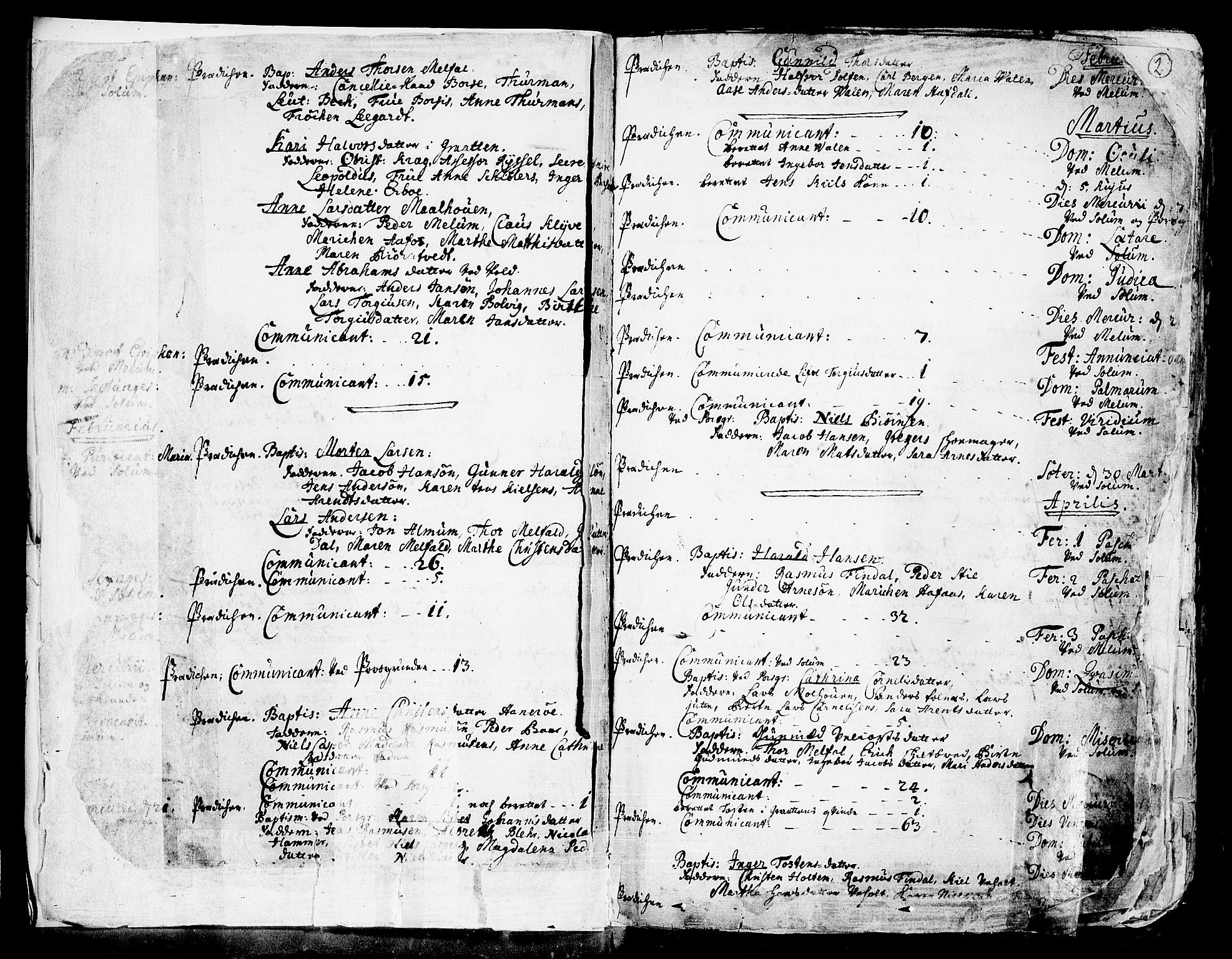 SAKO, Solum kirkebøker, F/Fa/L0002: Ministerialbok nr. I 2, 1713-1761, s. 2