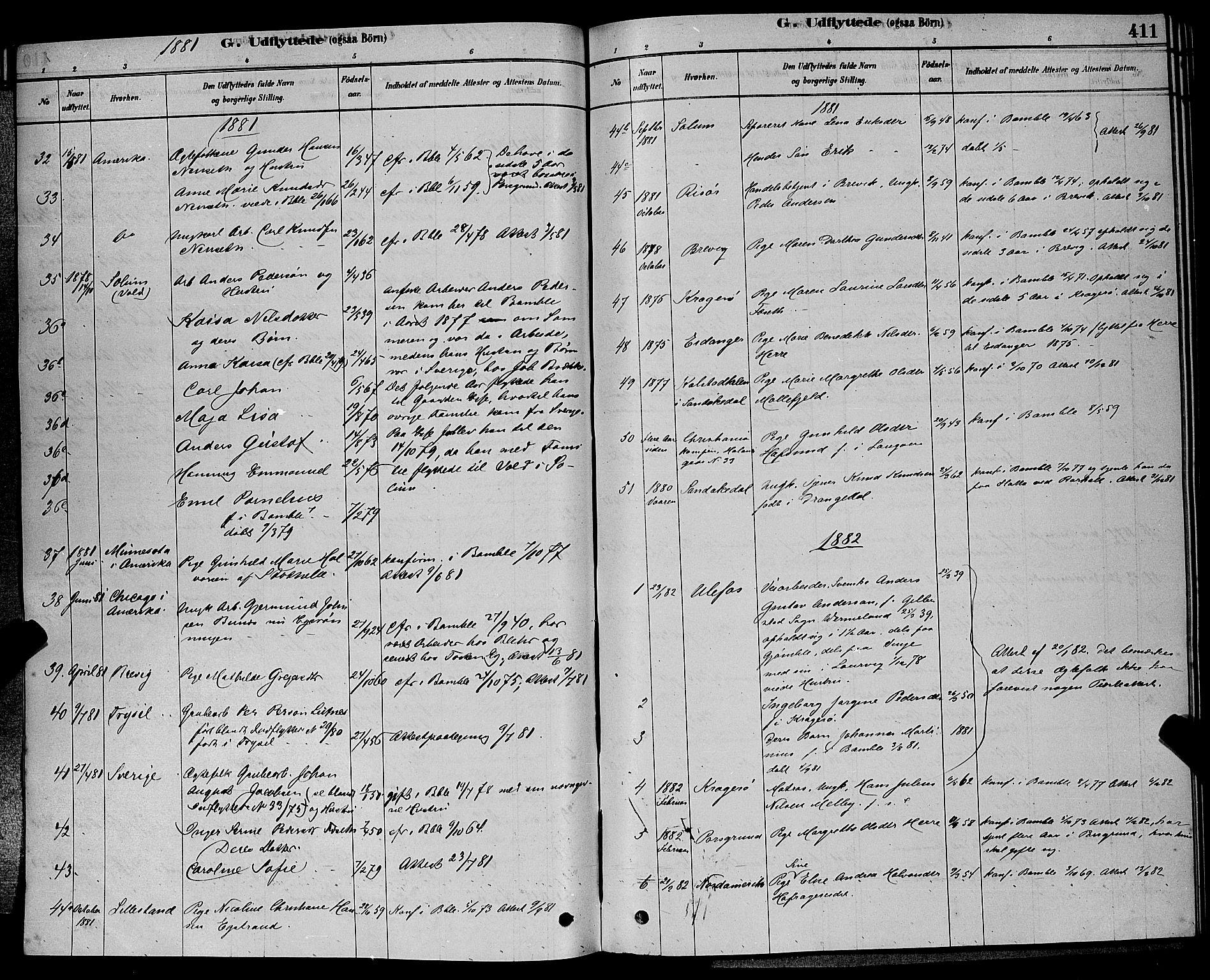 SAKO, Bamble kirkebøker, G/Ga/L0008: Klokkerbok nr. I 8, 1878-1888, s. 411