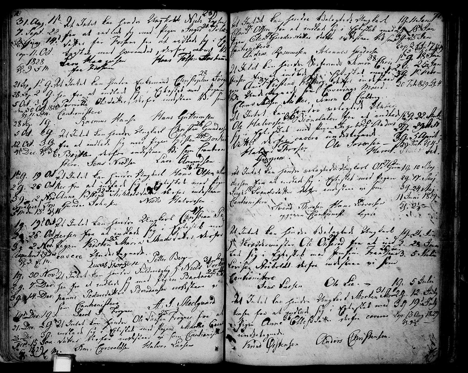 SAKO, Skien kirkebøker, F/Fa/L0004: Ministerialbok nr. 4, 1792-1814, s. 70-71