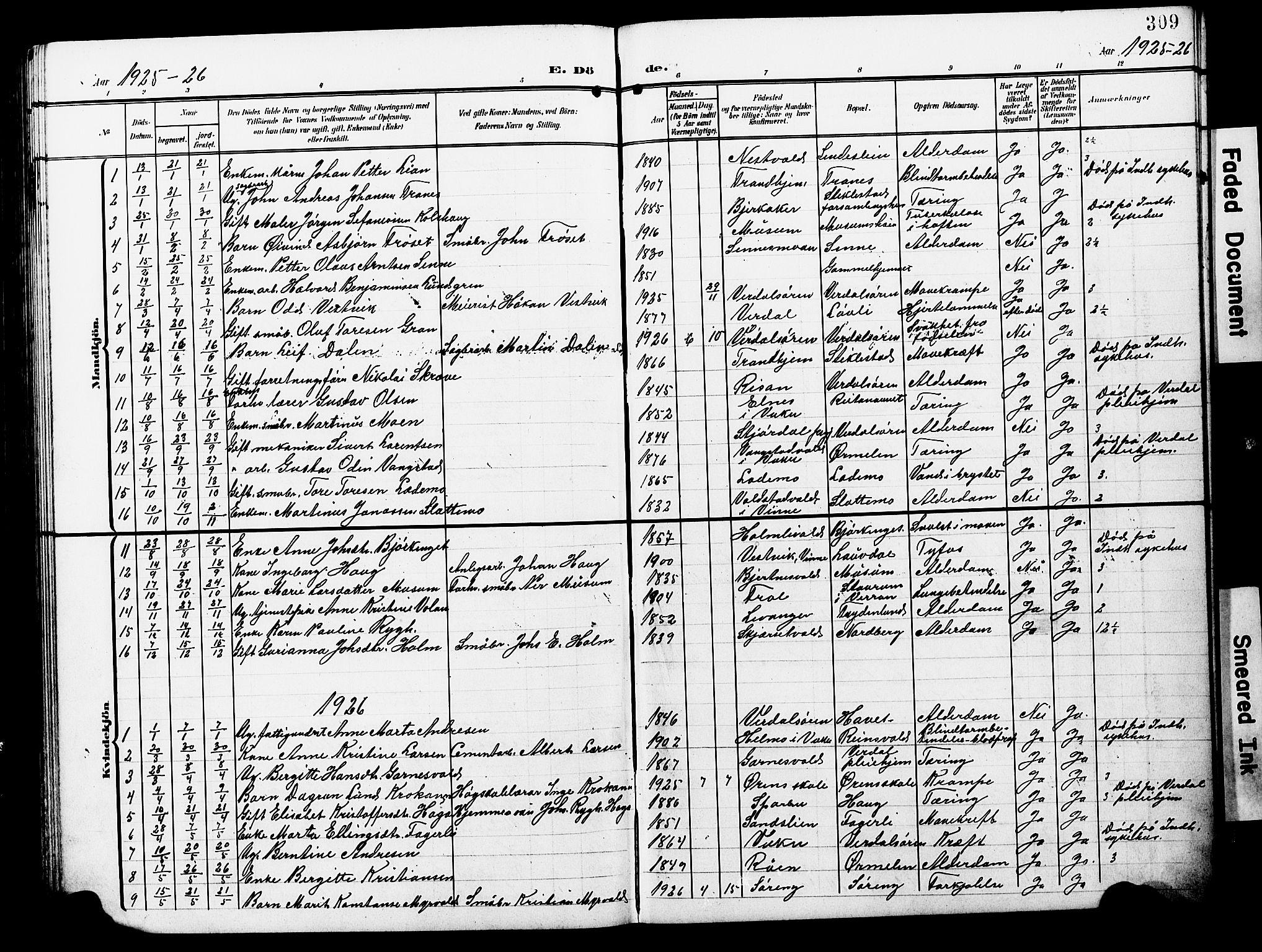 SAT, Ministerialprotokoller, klokkerbøker og fødselsregistre - Nord-Trøndelag, 723/L0258: Klokkerbok nr. 723C06, 1908-1927, s. 309