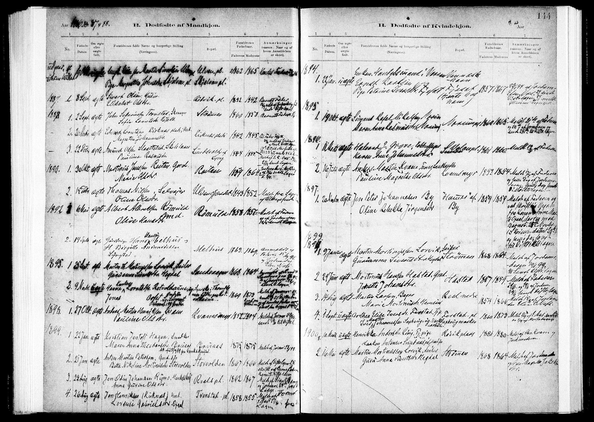 SAT, Ministerialprotokoller, klokkerbøker og fødselsregistre - Nord-Trøndelag, 730/L0285: Ministerialbok nr. 730A10, 1879-1914, s. 144