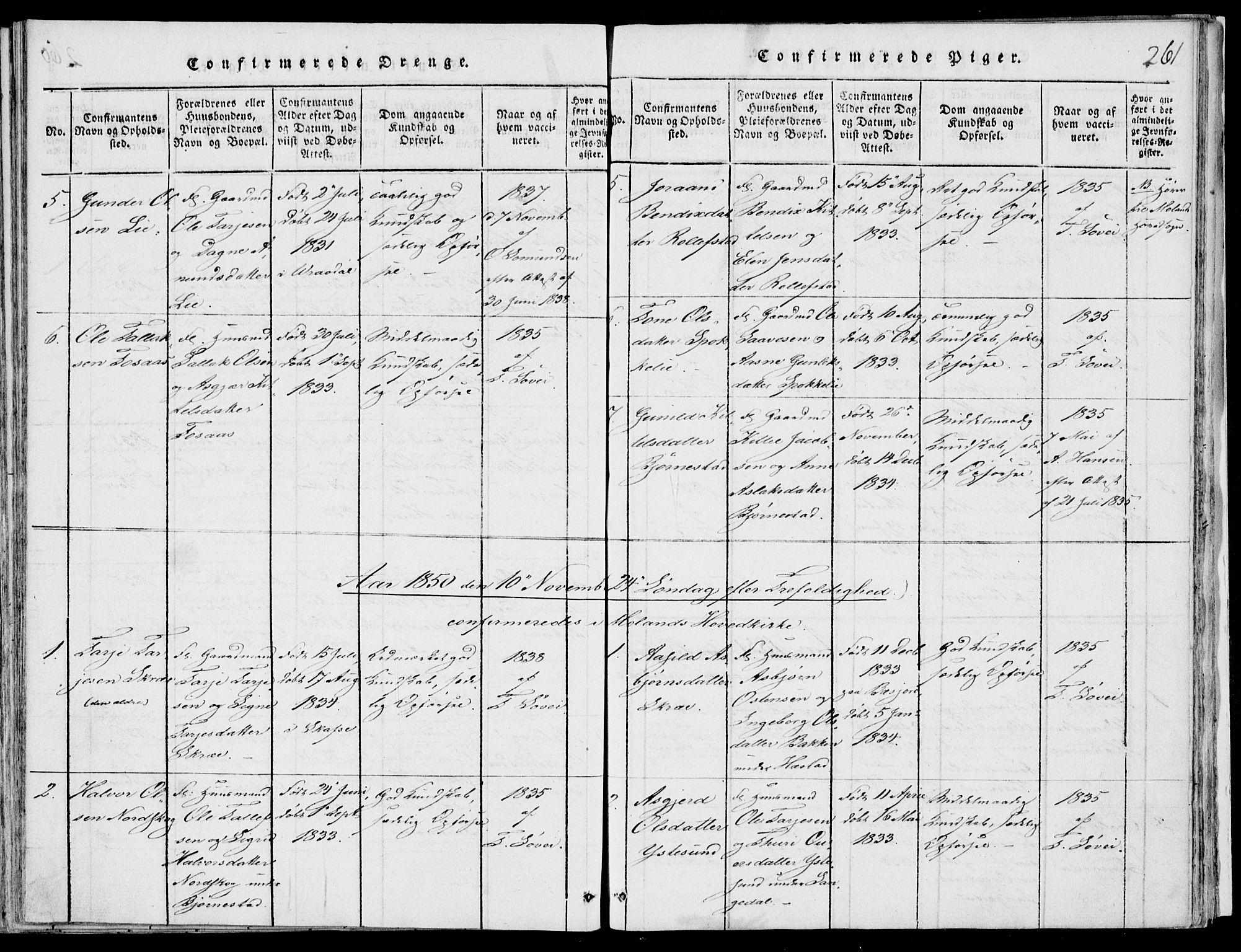 SAKO, Fyresdal kirkebøker, F/Fb/L0001: Ministerialbok nr. II 1, 1815-1854, s. 261