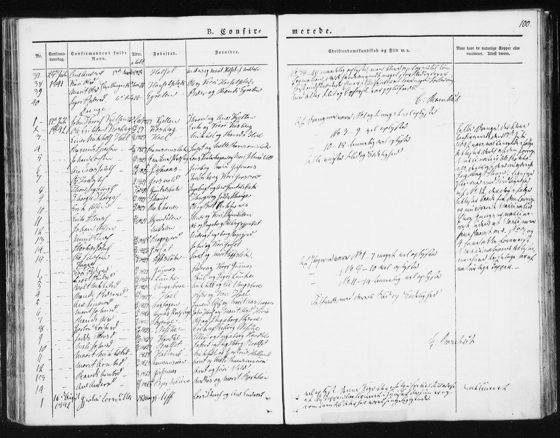 SAT, Ministerialprotokoller, klokkerbøker og fødselsregistre - Sør-Trøndelag, 674/L0869: Ministerialbok nr. 674A01, 1829-1860, s. 100