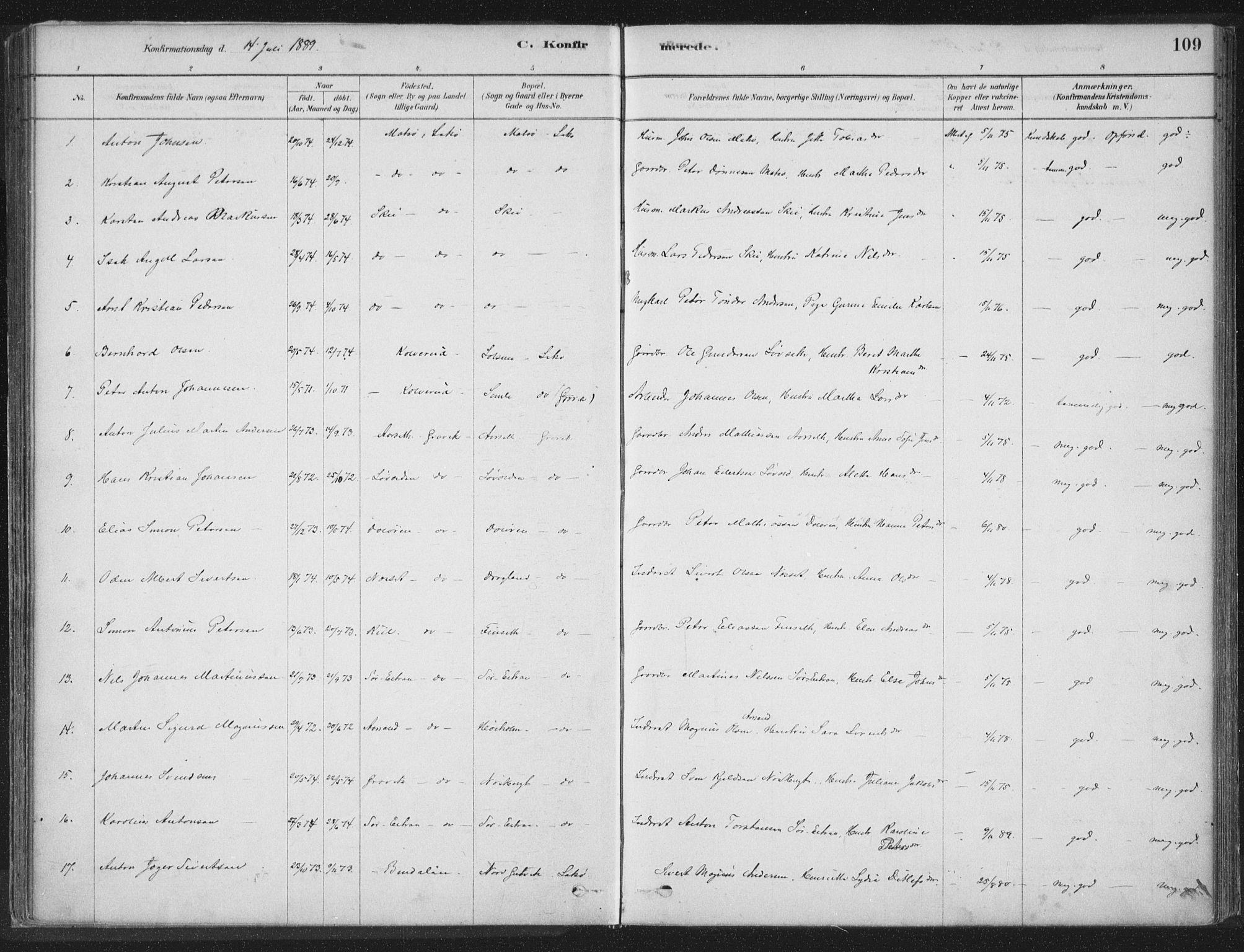 SAT, Ministerialprotokoller, klokkerbøker og fødselsregistre - Nord-Trøndelag, 788/L0697: Ministerialbok nr. 788A04, 1878-1902, s. 109