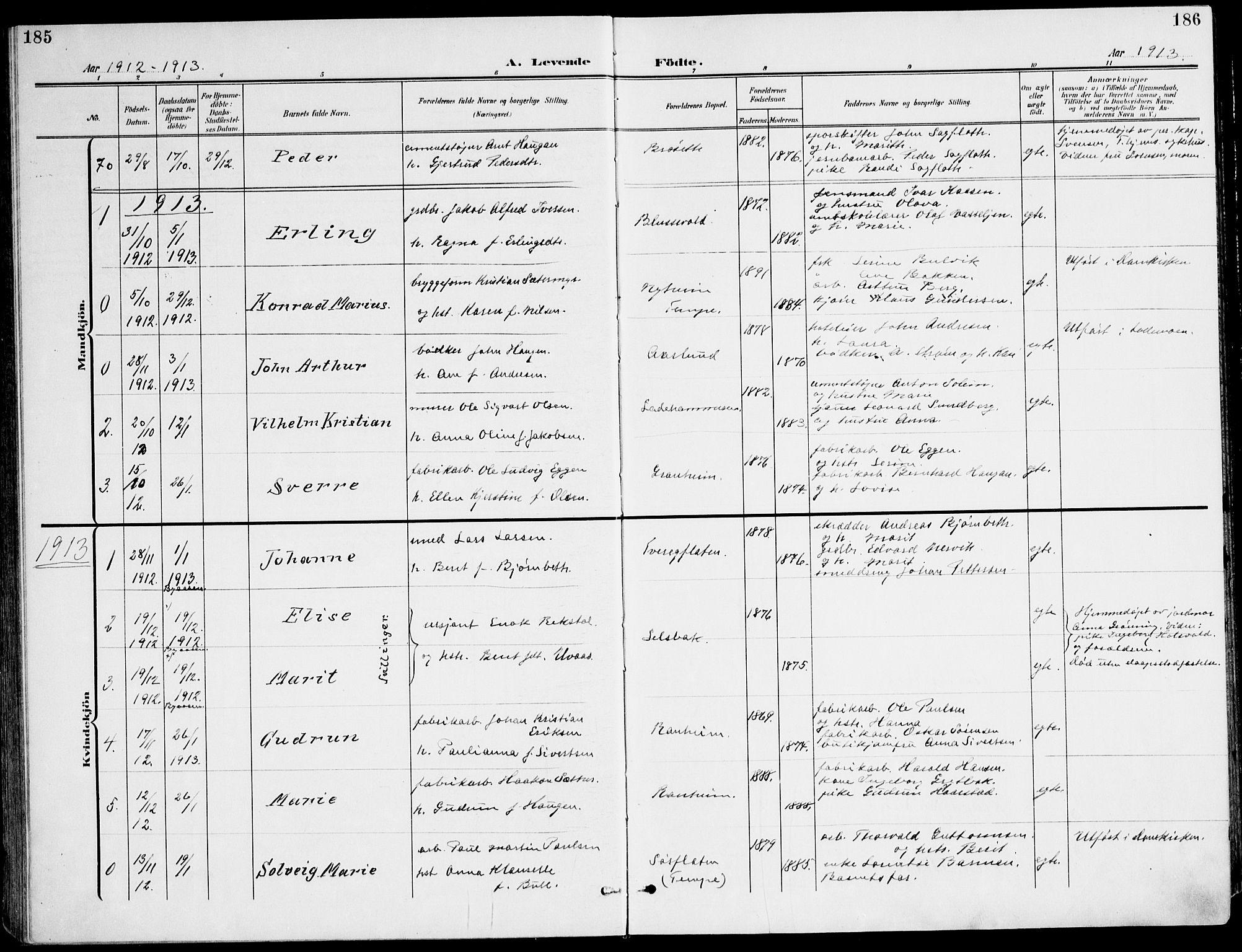 SAT, Ministerialprotokoller, klokkerbøker og fødselsregistre - Sør-Trøndelag, 607/L0320: Ministerialbok nr. 607A04, 1907-1915, s. 185-186