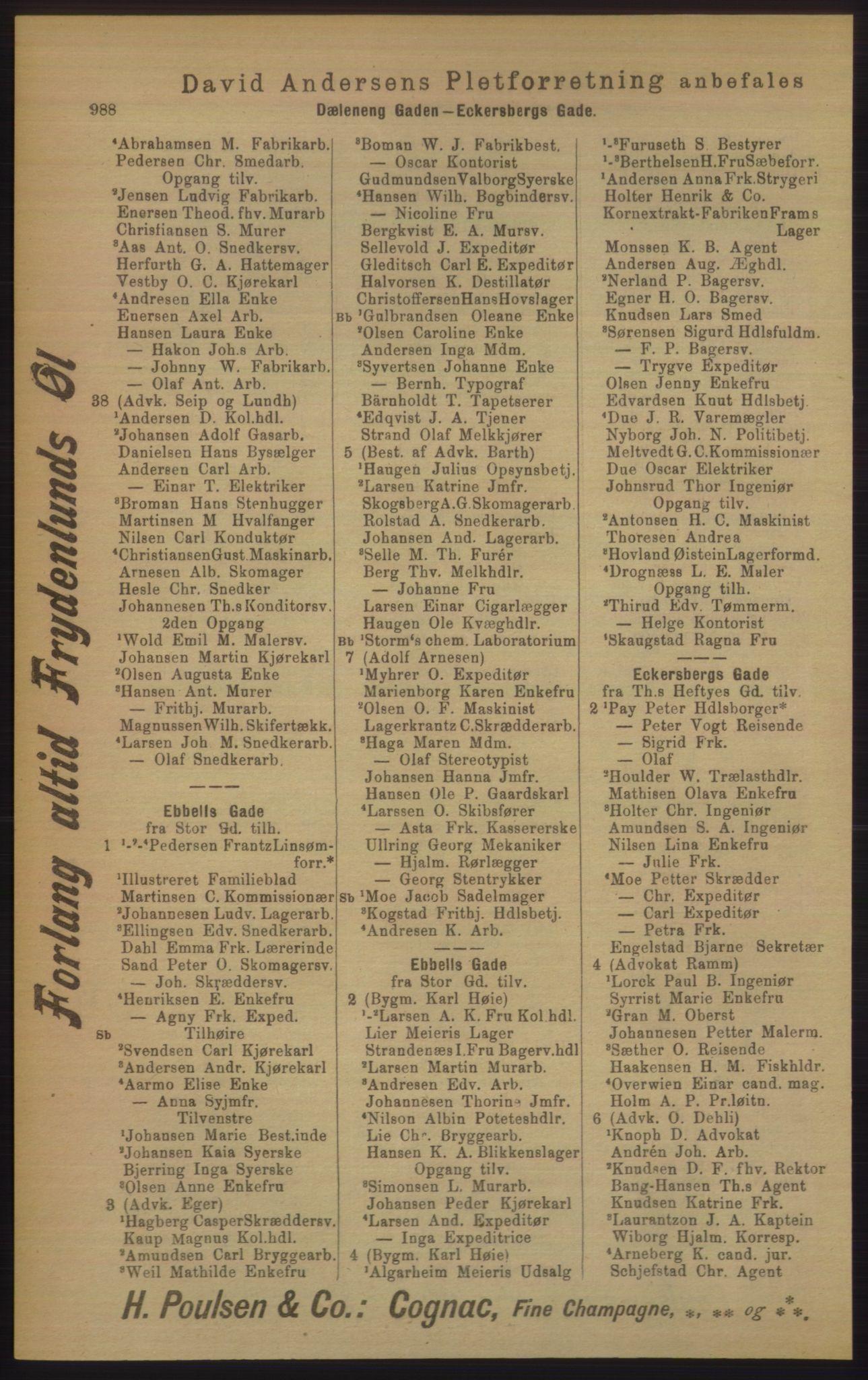 RA, Kristiania adressebok (publikasjon)*, 1906, s. 988