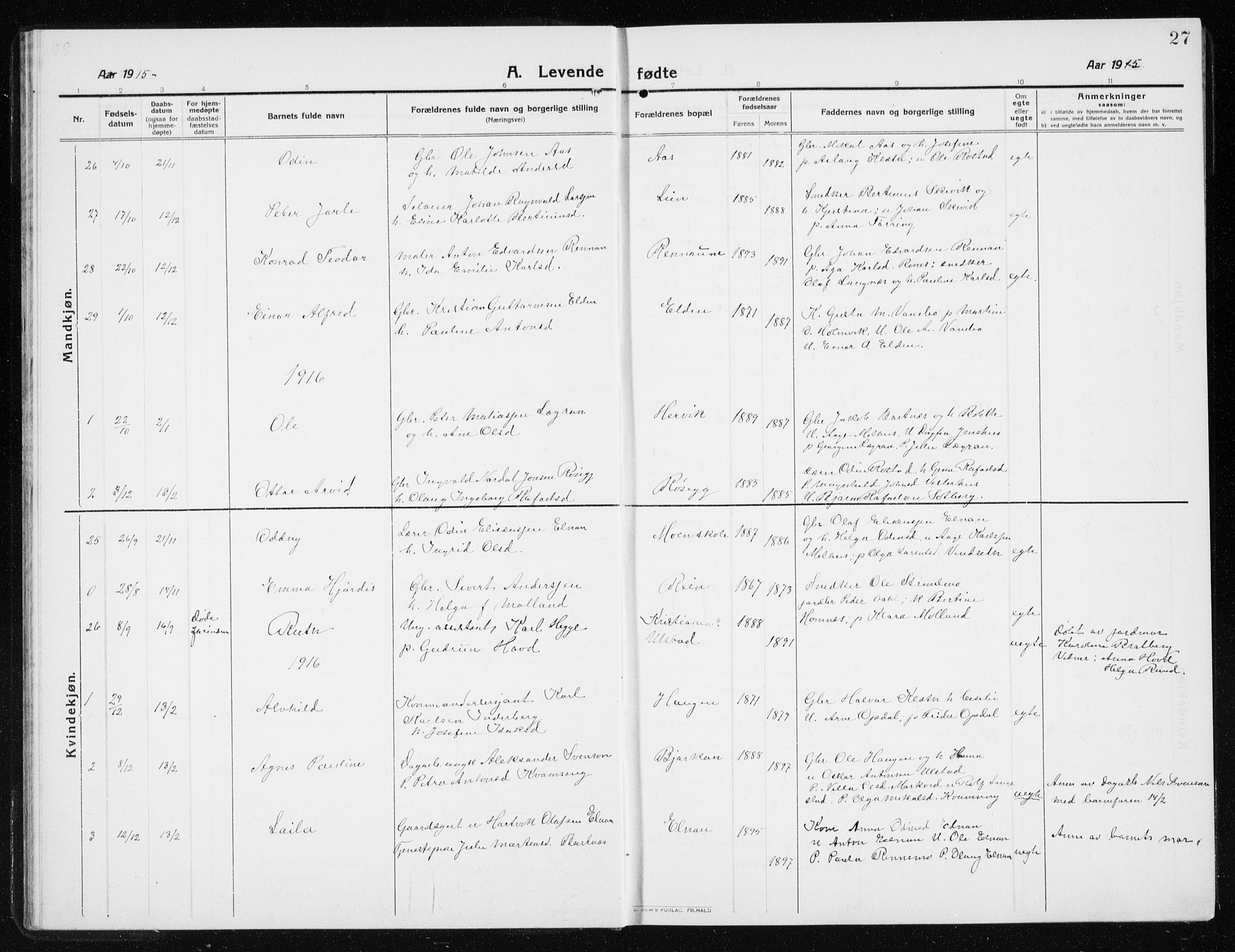 SAT, Ministerialprotokoller, klokkerbøker og fødselsregistre - Nord-Trøndelag, 741/L0402: Klokkerbok nr. 741C03, 1911-1926, s. 27