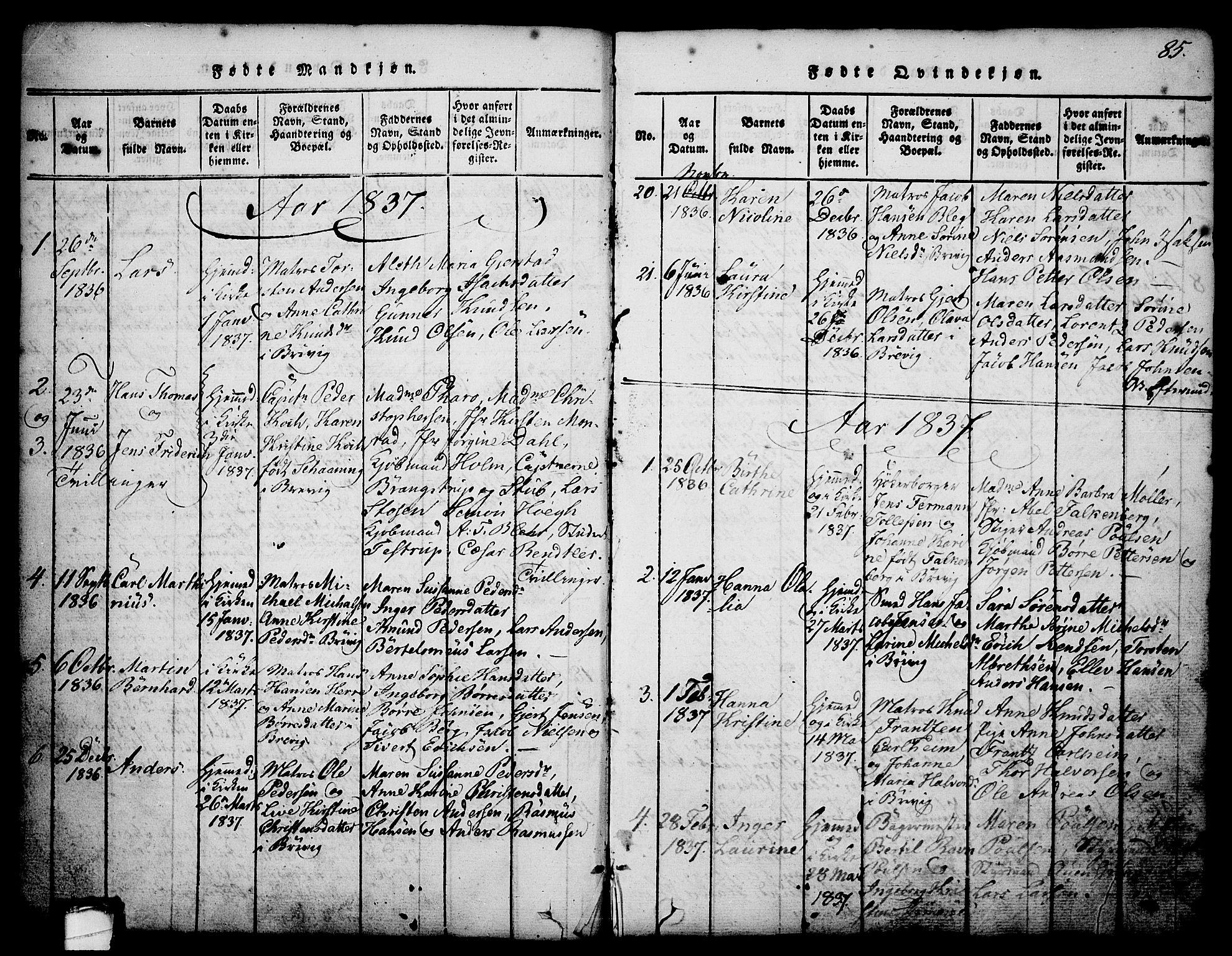 SAKO, Brevik kirkebøker, G/Ga/L0001: Klokkerbok nr. 1, 1814-1845, s. 85