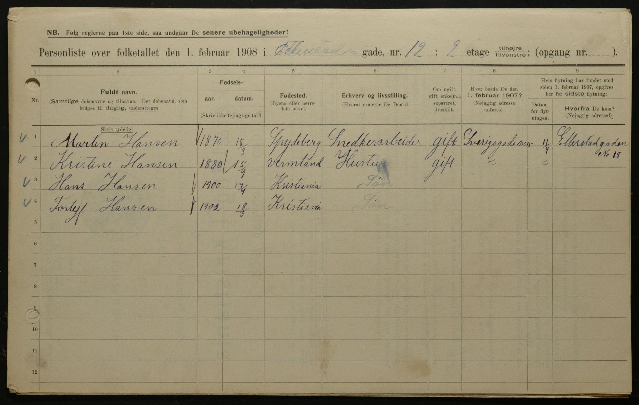 OBA, Kommunal folketelling 1908 for Kristiania kjøpstad, 1908, s. 20396