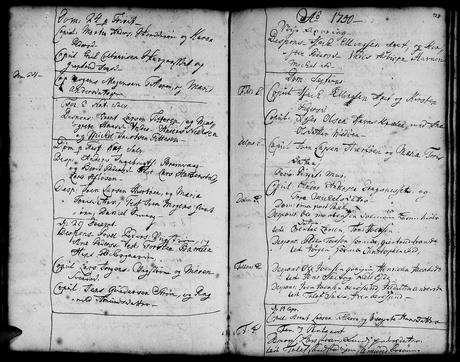 SAT, Ministerialprotokoller, klokkerbøker og fødselsregistre - Sør-Trøndelag, 634/L0525: Ministerialbok nr. 634A01, 1736-1775, s. 128