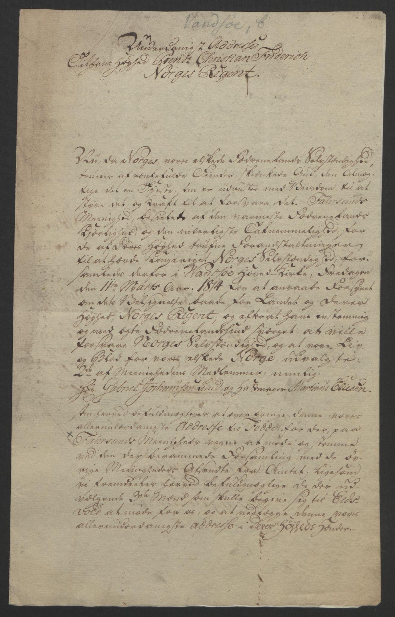 RA, Statsrådssekretariatet, D/Db/L0008: Fullmakter for Eidsvollsrepresentantene i 1814. , 1814, s. 186