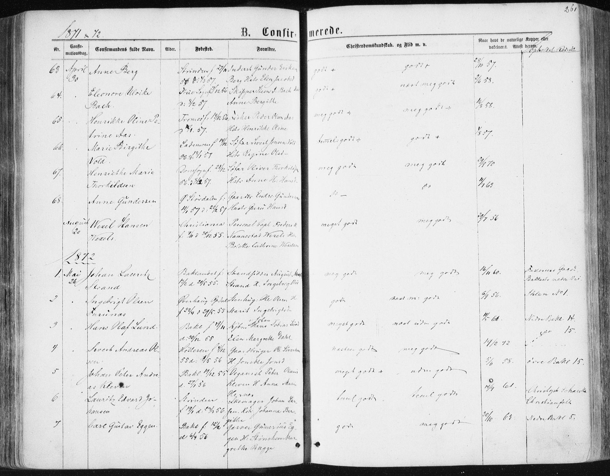 SAT, Ministerialprotokoller, klokkerbøker og fødselsregistre - Sør-Trøndelag, 604/L0186: Ministerialbok nr. 604A07, 1866-1877, s. 261
