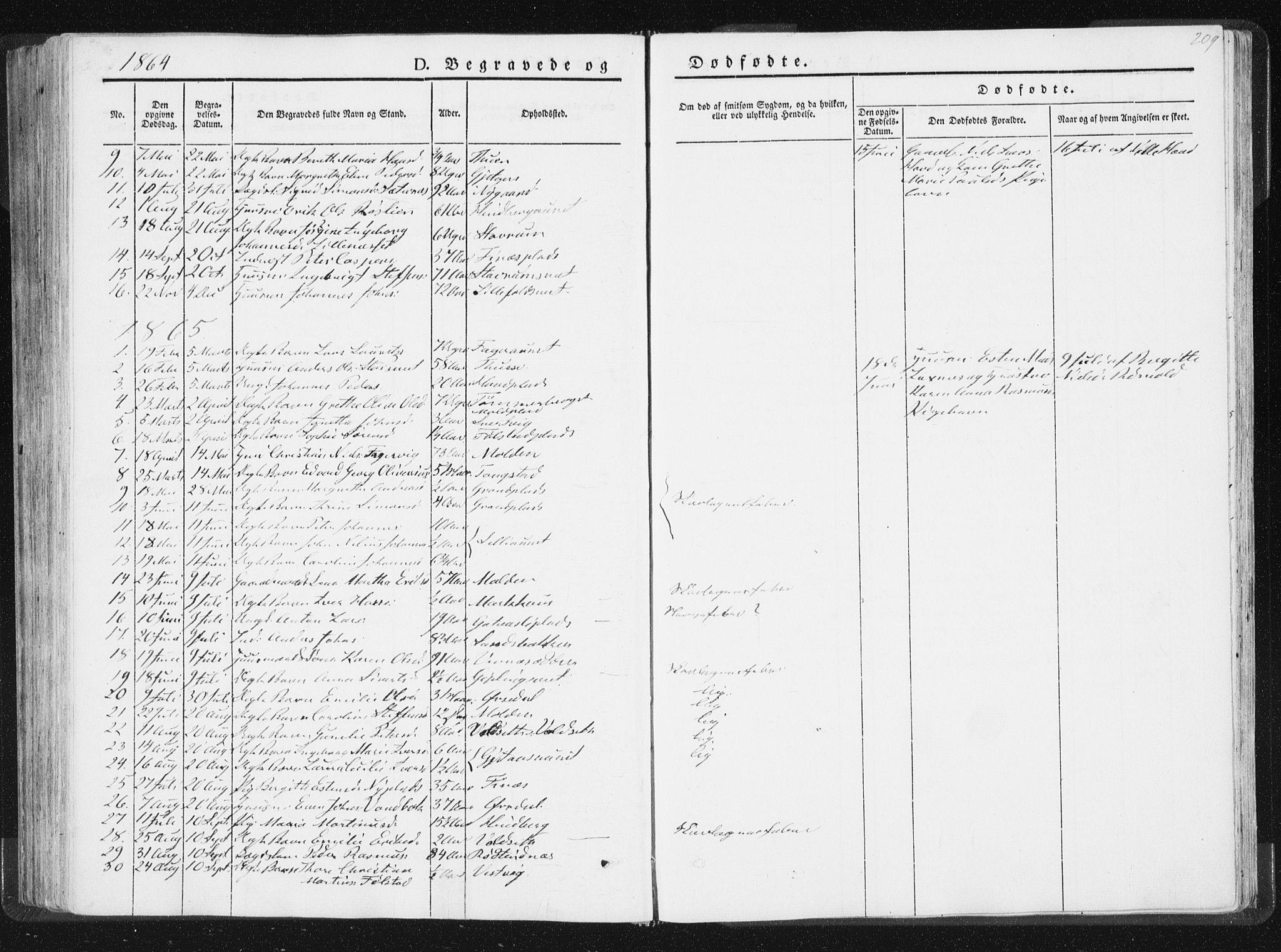 SAT, Ministerialprotokoller, klokkerbøker og fødselsregistre - Nord-Trøndelag, 744/L0418: Ministerialbok nr. 744A02, 1843-1866, s. 209