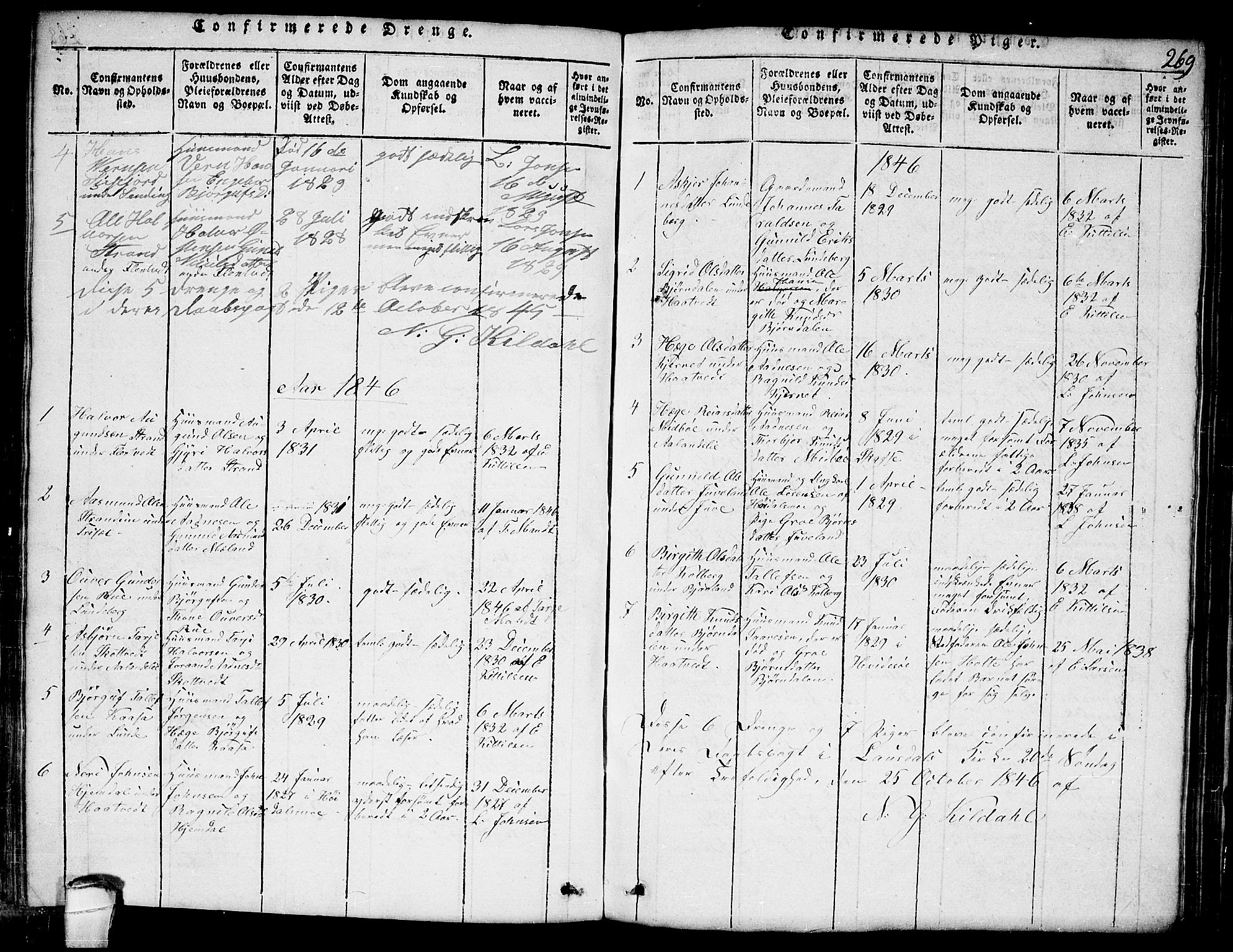 SAKO, Lårdal kirkebøker, G/Ga/L0001: Klokkerbok nr. I 1, 1815-1861, s. 269