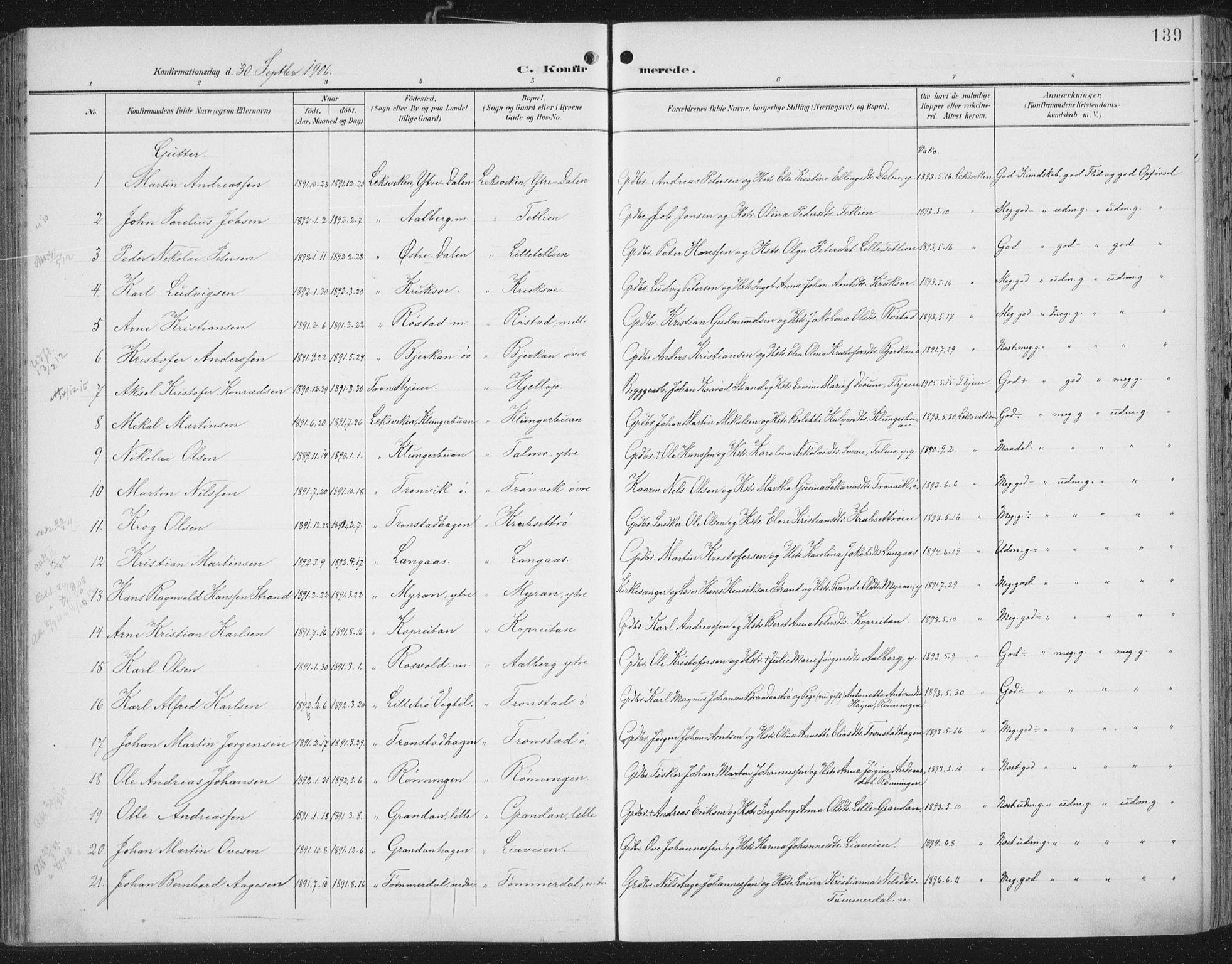 SAT, Ministerialprotokoller, klokkerbøker og fødselsregistre - Nord-Trøndelag, 701/L0011: Ministerialbok nr. 701A11, 1899-1915, s. 139