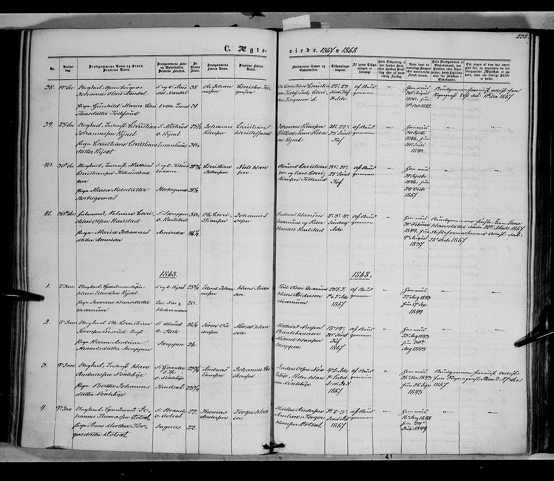 SAH, Vestre Toten prestekontor, Ministerialbok nr. 7, 1862-1869, s. 238