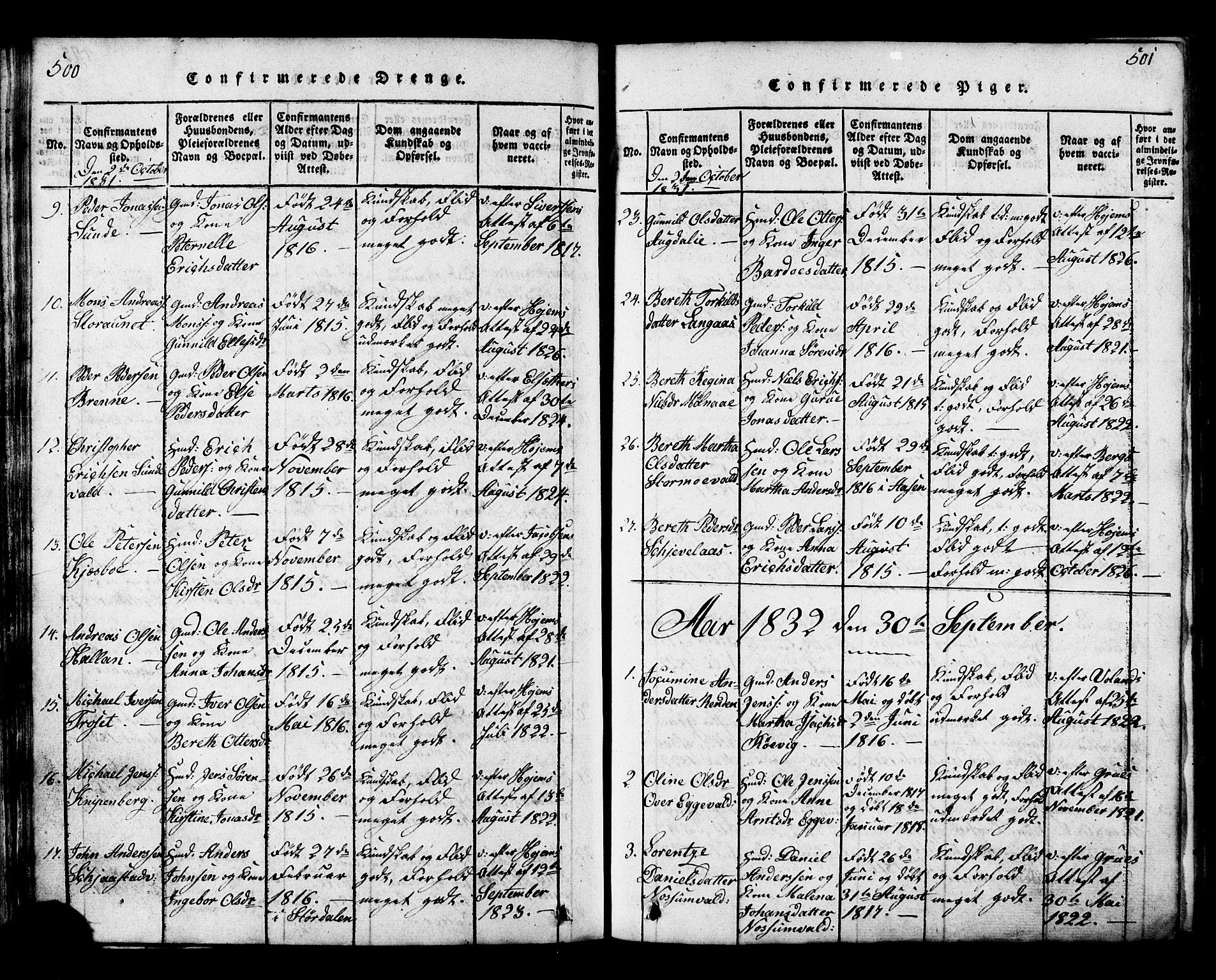 SAT, Ministerialprotokoller, klokkerbøker og fødselsregistre - Nord-Trøndelag, 717/L0169: Klokkerbok nr. 717C01, 1816-1834, s. 500-501