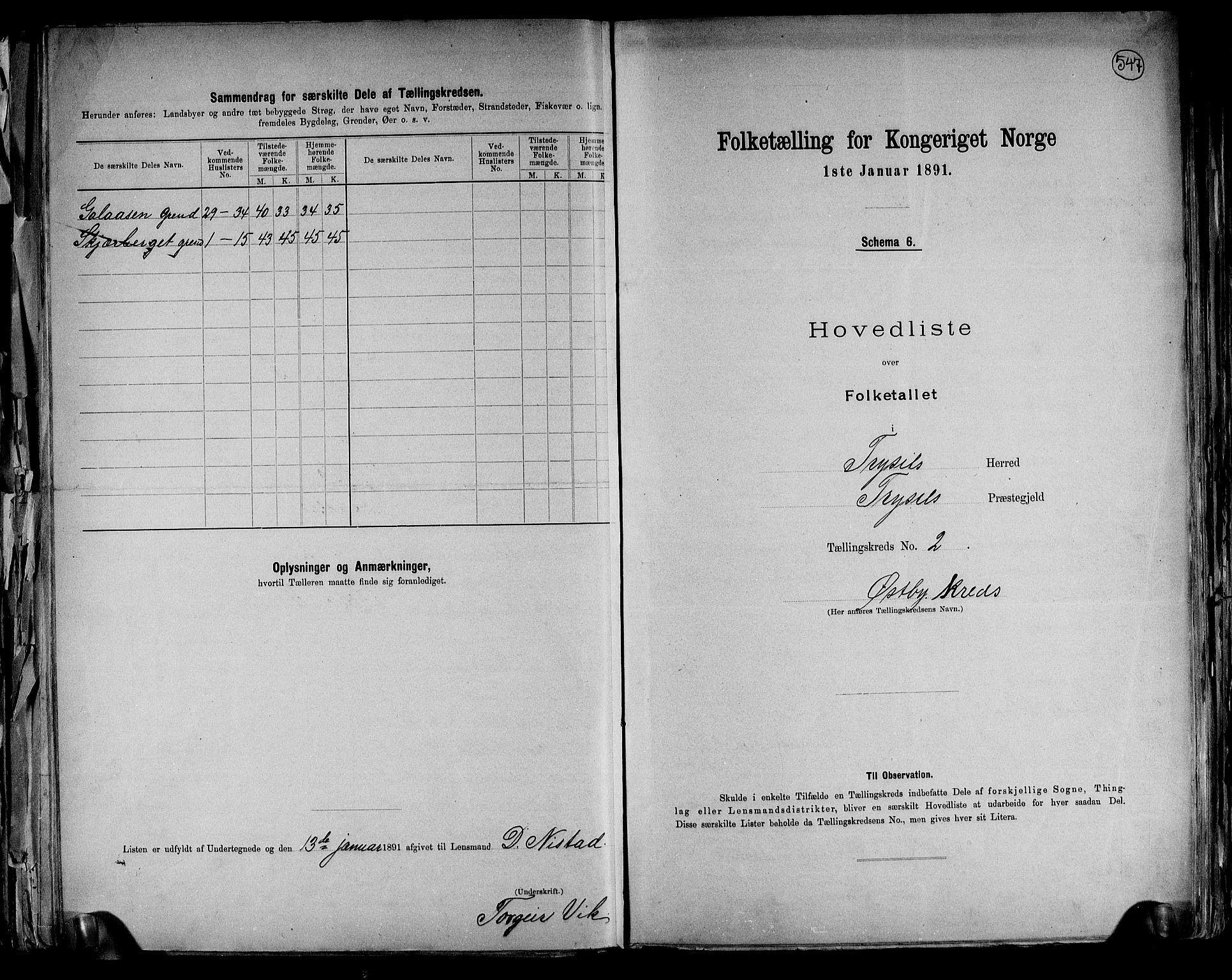 RA, Folketelling 1891 for 0428 Trysil herred, 1891, s. 8