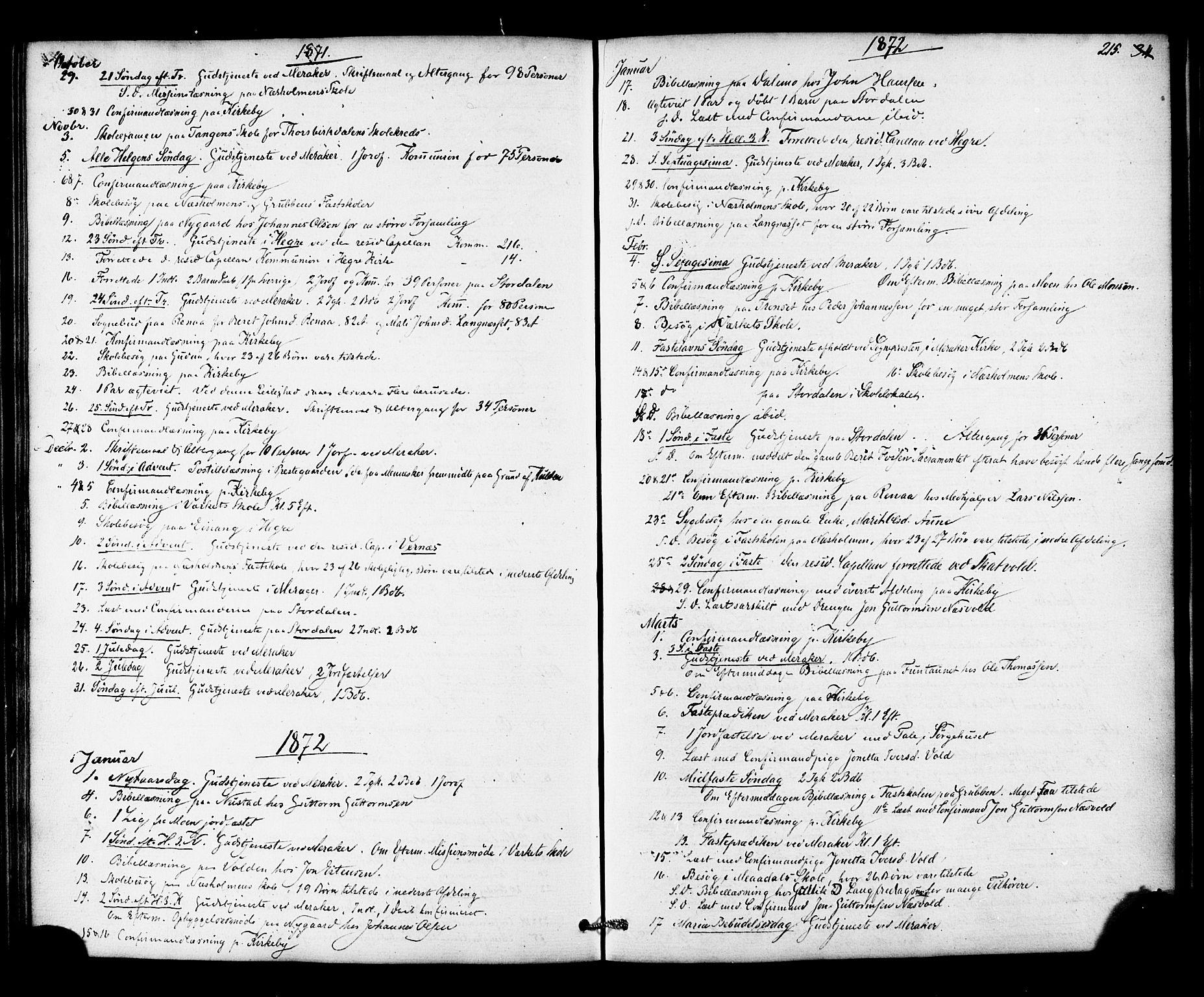 SAT, Ministerialprotokoller, klokkerbøker og fødselsregistre - Nord-Trøndelag, 706/L0041: Ministerialbok nr. 706A02, 1862-1877, s. 215