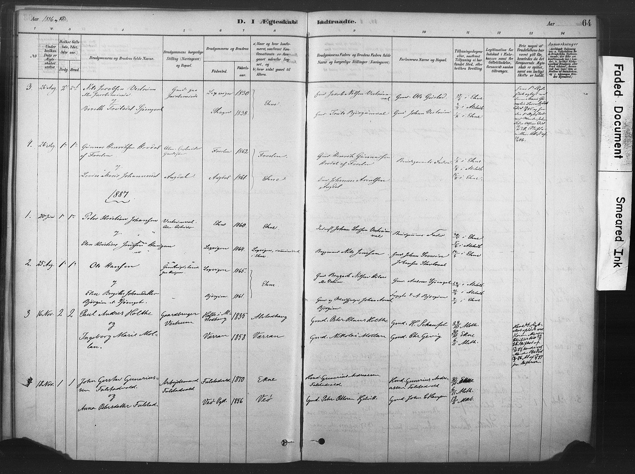 SAT, Ministerialprotokoller, klokkerbøker og fødselsregistre - Nord-Trøndelag, 719/L0178: Ministerialbok nr. 719A01, 1878-1900, s. 64