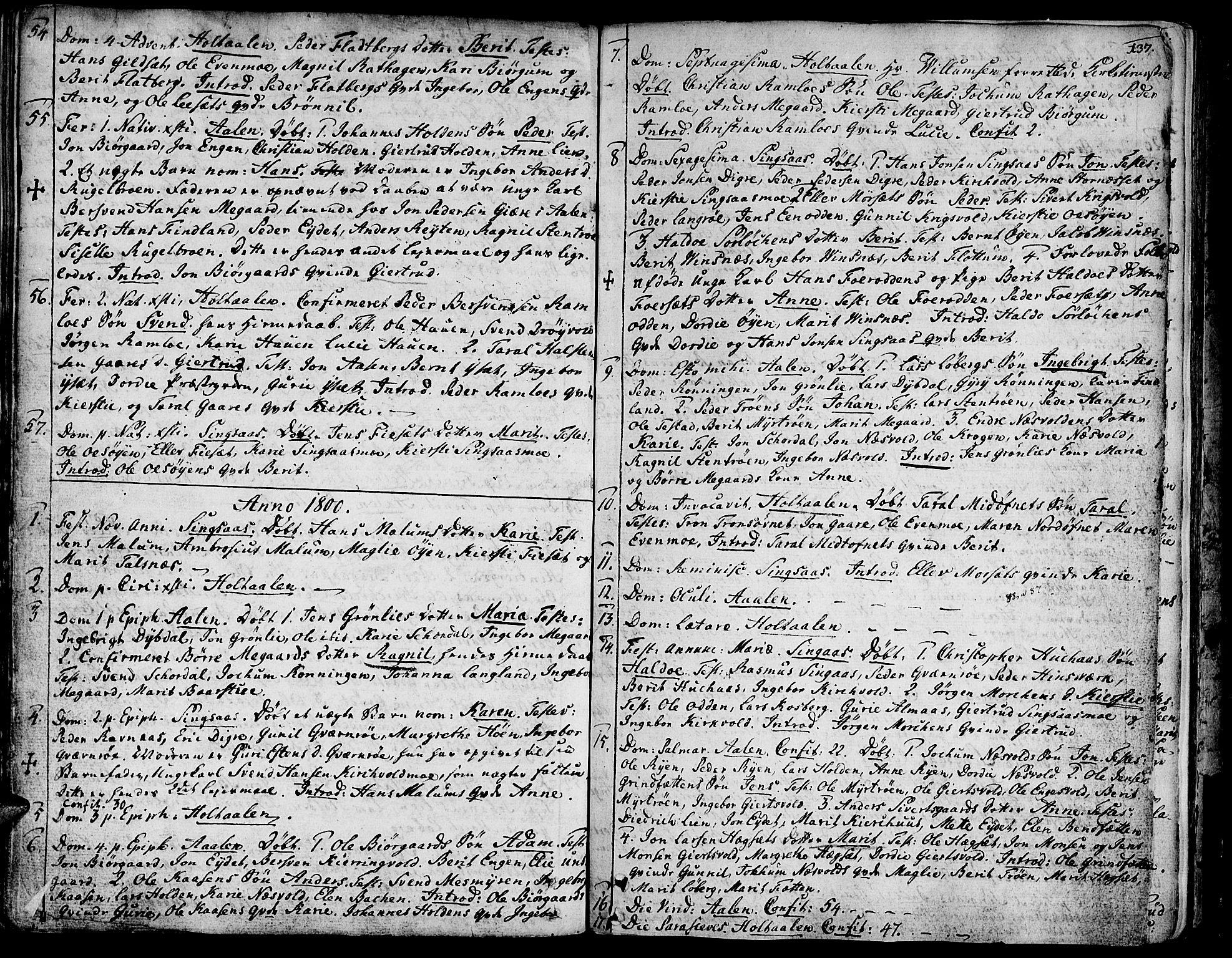 SAT, Ministerialprotokoller, klokkerbøker og fødselsregistre - Sør-Trøndelag, 685/L0952: Ministerialbok nr. 685A01, 1745-1804, s. 137