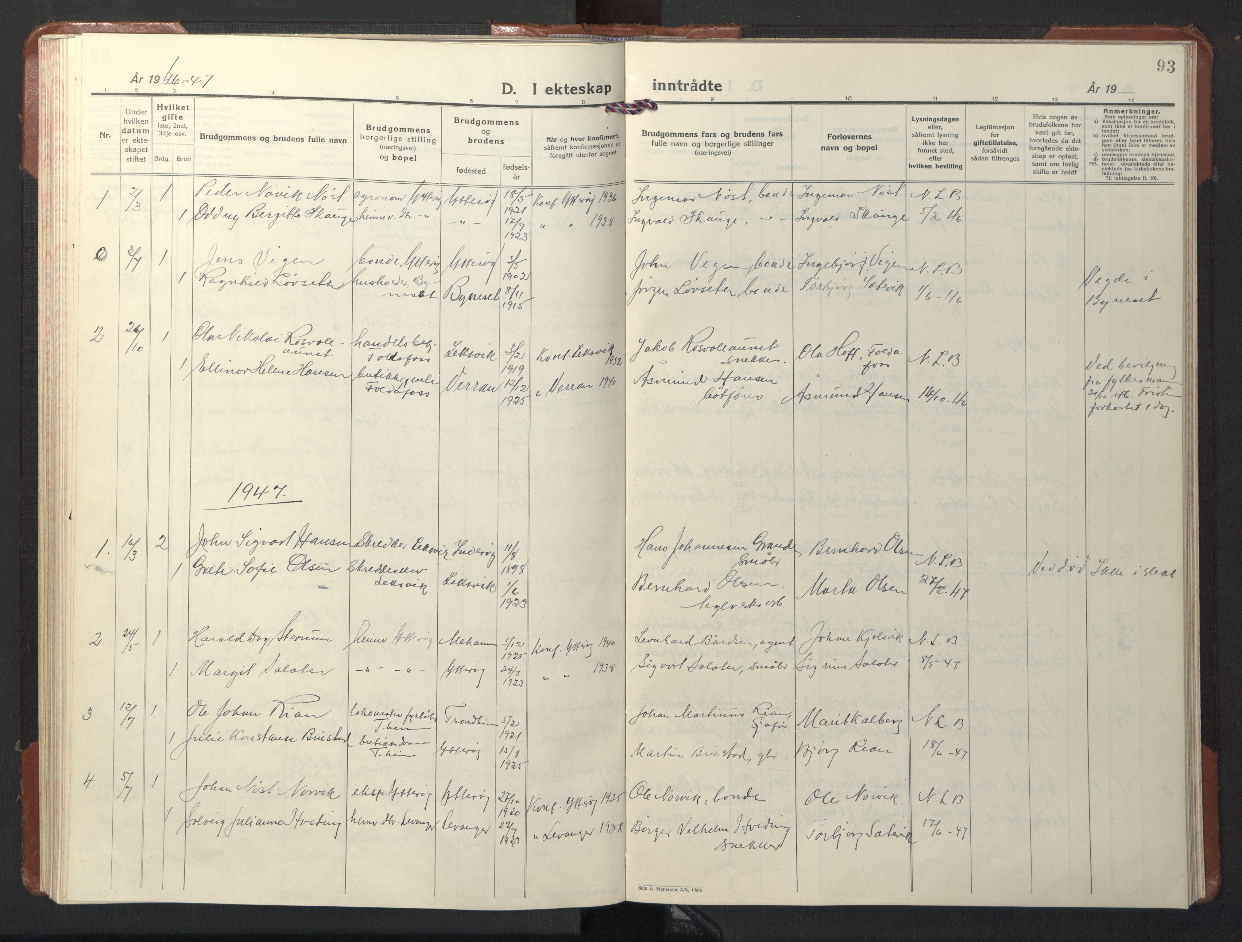 SAT, Ministerialprotokoller, klokkerbøker og fødselsregistre - Nord-Trøndelag, 722/L0227: Klokkerbok nr. 722C03, 1928-1958, s. 93