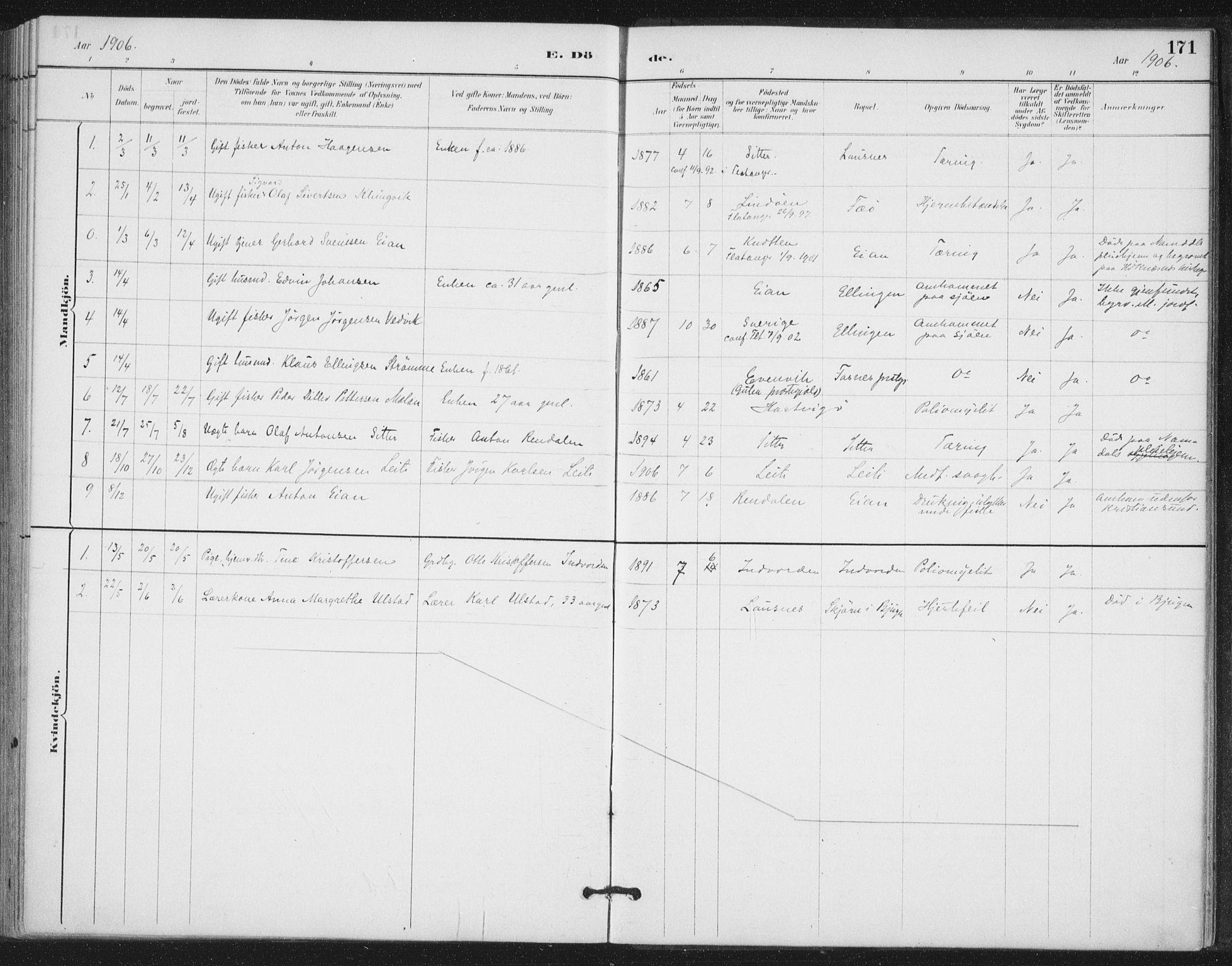 SAT, Ministerialprotokoller, klokkerbøker og fødselsregistre - Nord-Trøndelag, 772/L0603: Ministerialbok nr. 772A01, 1885-1912, s. 171