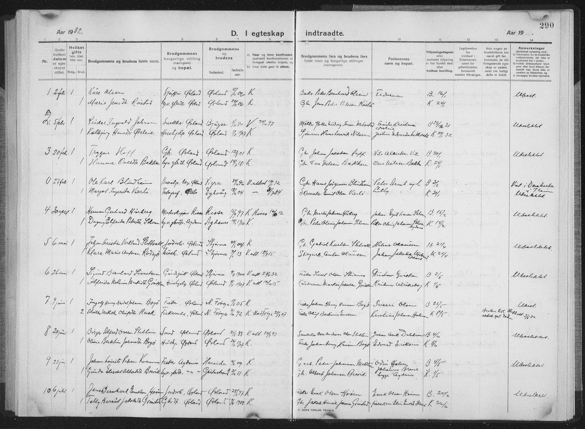 SAT, Ministerialprotokoller, klokkerbøker og fødselsregistre - Sør-Trøndelag, 659/L0747: Klokkerbok nr. 659C04, 1913-1938, s. 290