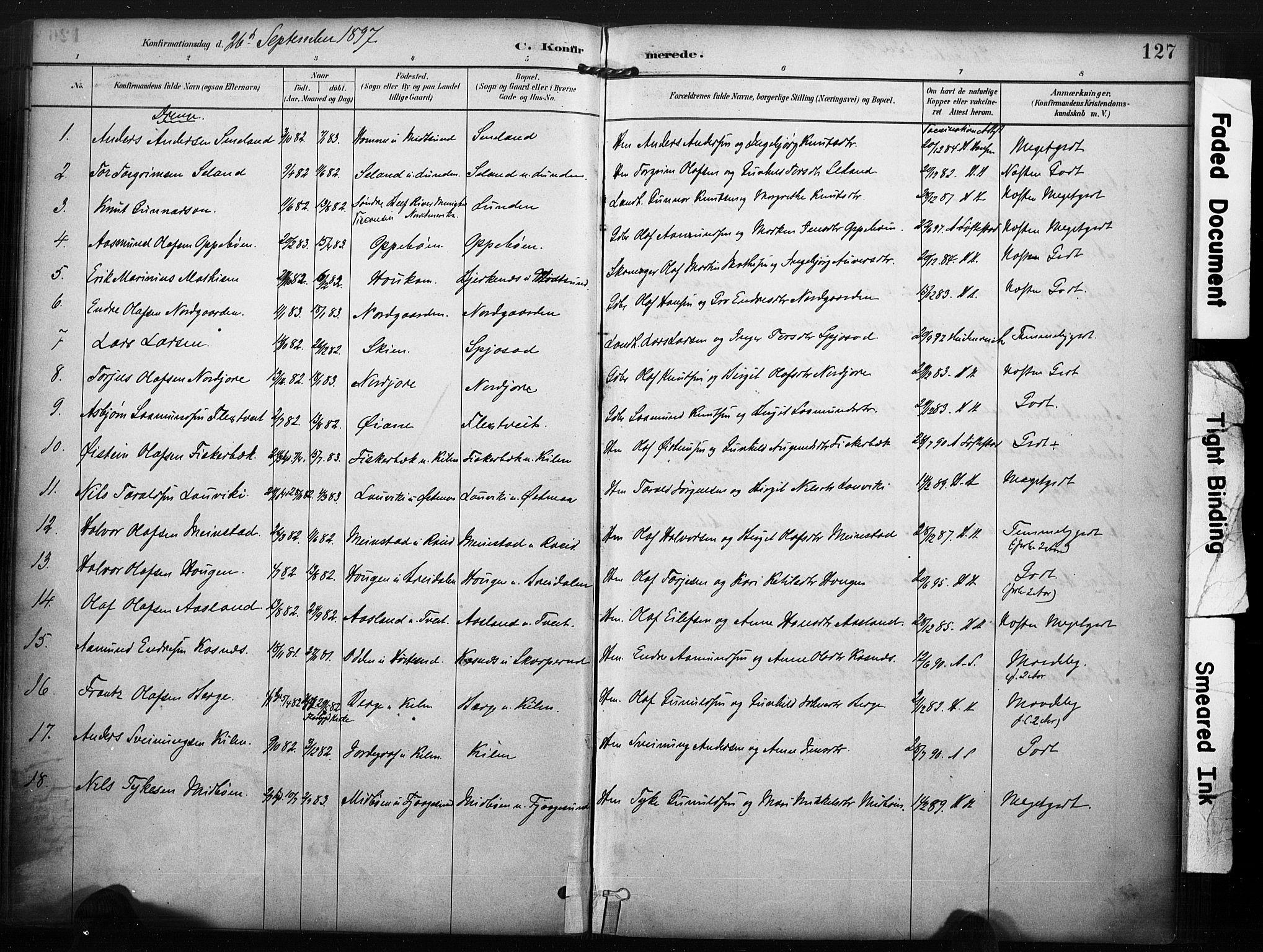 SAKO, Kviteseid kirkebøker, F/Fa/L0008: Ministerialbok nr. I 8, 1882-1903, s. 127